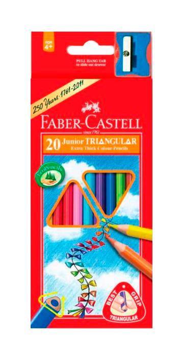 Цветные карандашиJUNIOR GRIP с точилкой, набор цветов, в картонной коробке, 20 шт.72523WDFaber Castell Junior Grip 116520 - цветные карандаши, входят в набор вместе с точилкой. Универсальная эргономичная трехгранная форма, также на каждом карандаше выделено специальное место для имени. Все карандаши имеют яркие и насыщенные цвета. Вид карандаша: цветной.Материал: дерево.
