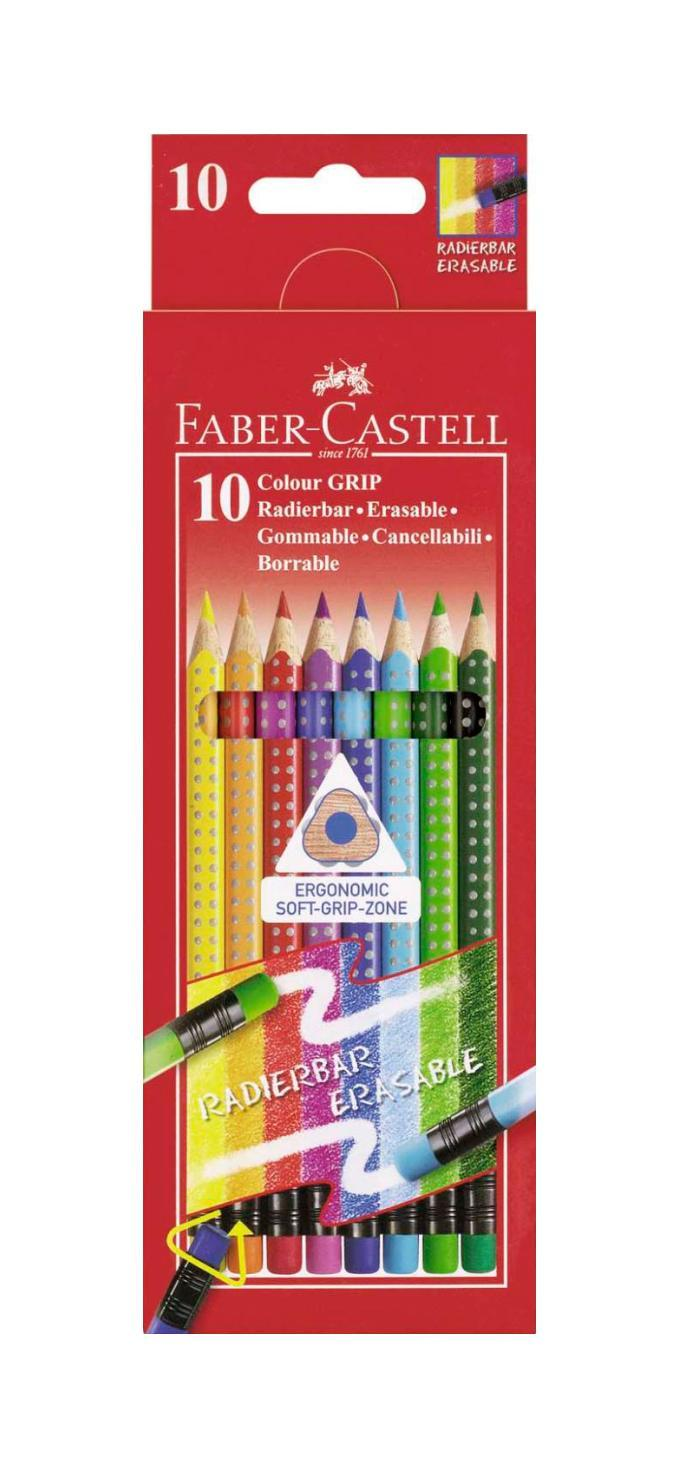 Цветные карандаши GRIP 2001 с ластиками, набор цветов, в картонной коробке, 10 шт.116613Faber Castell GRIP 2001 116613 - цветные карандаши выполнены в эргономичной трехгранной форме, имеют яркие, насыщенные цвета. Важным преимуществом является то, что данные карандаши хорошо отстирываются с большинства тканей. Вид карандаша: цветной.Особенности: С ластиком.Материал: дерево.