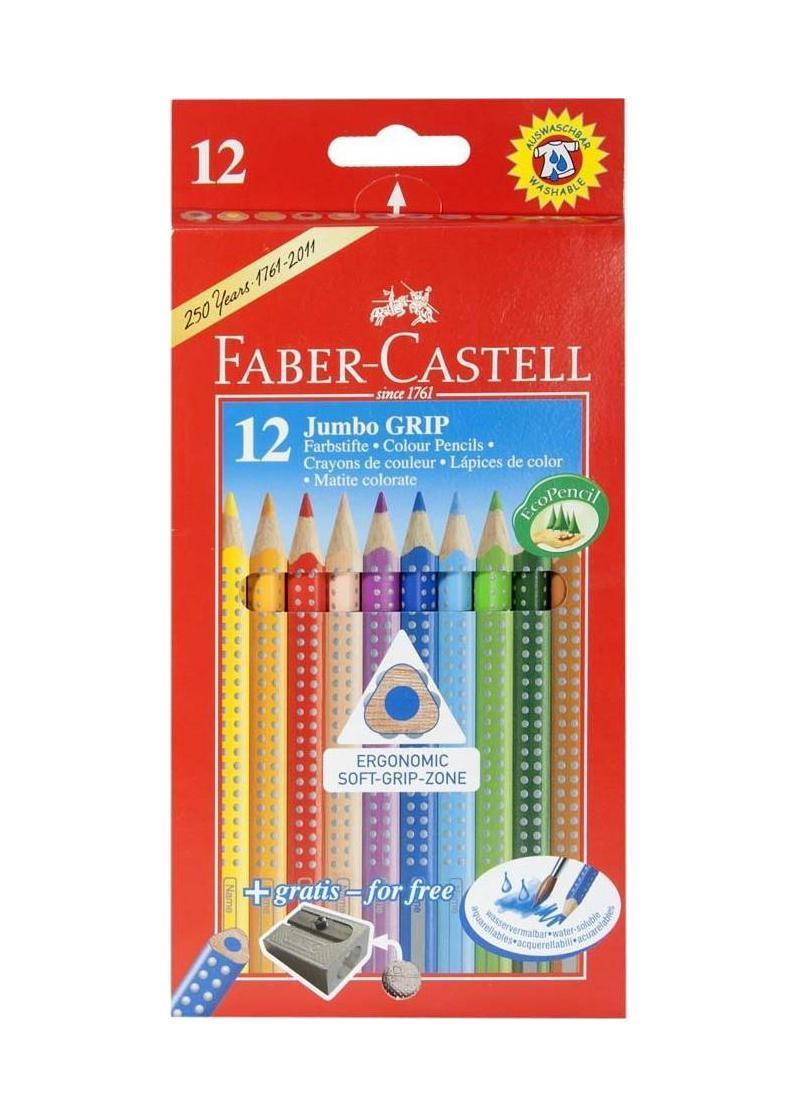 Цветные карандаши JUMBO GRIP с точилкой, набор цветов,в картонной коробке, 12 шт.730396Faber Castell Jumbo Grip 110912 - это качественные карандаши с толщиной грифеля 3.8 миллиметра. Набор станет прекрасным дополнением к набору школьных принадлежностей. Карандаши оставляют на бумаге яркие и насыщенные цвета. Они покрыты лаком на водной основе, что не навредит здоровью детей и окружающей среде. Мягкое дерево очень легко затачивается обычными точилками. Вид карандаша: цветной.Особенности: С точилкой.Материал: дерево.