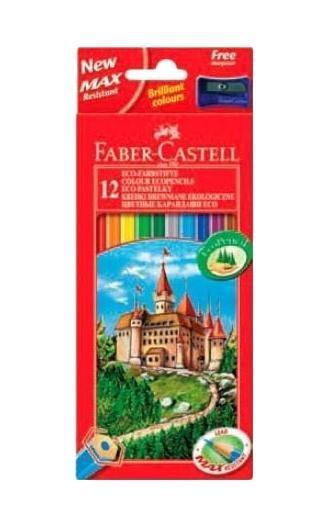 Цветные карандаши ECO ЗАМОК с точилкой, набор цветов, в картонной коробке, 12 шт.120112Faber Castell Замок 120112 - это качественный набор цветных карандашей. Он станет прекрасным дополнением к набору школьных принадлежностей. Карандаши оставляют на бумаге яркие и насыщенные цвета. Они покрыты лаком на водной основе, что не навредит здоровью детей и окружающей среде. Мягкое дерево очень легко затачивается обычными точилками. Вид карандаша: цветной.Особенности: С точилкой.Материал: дерево.