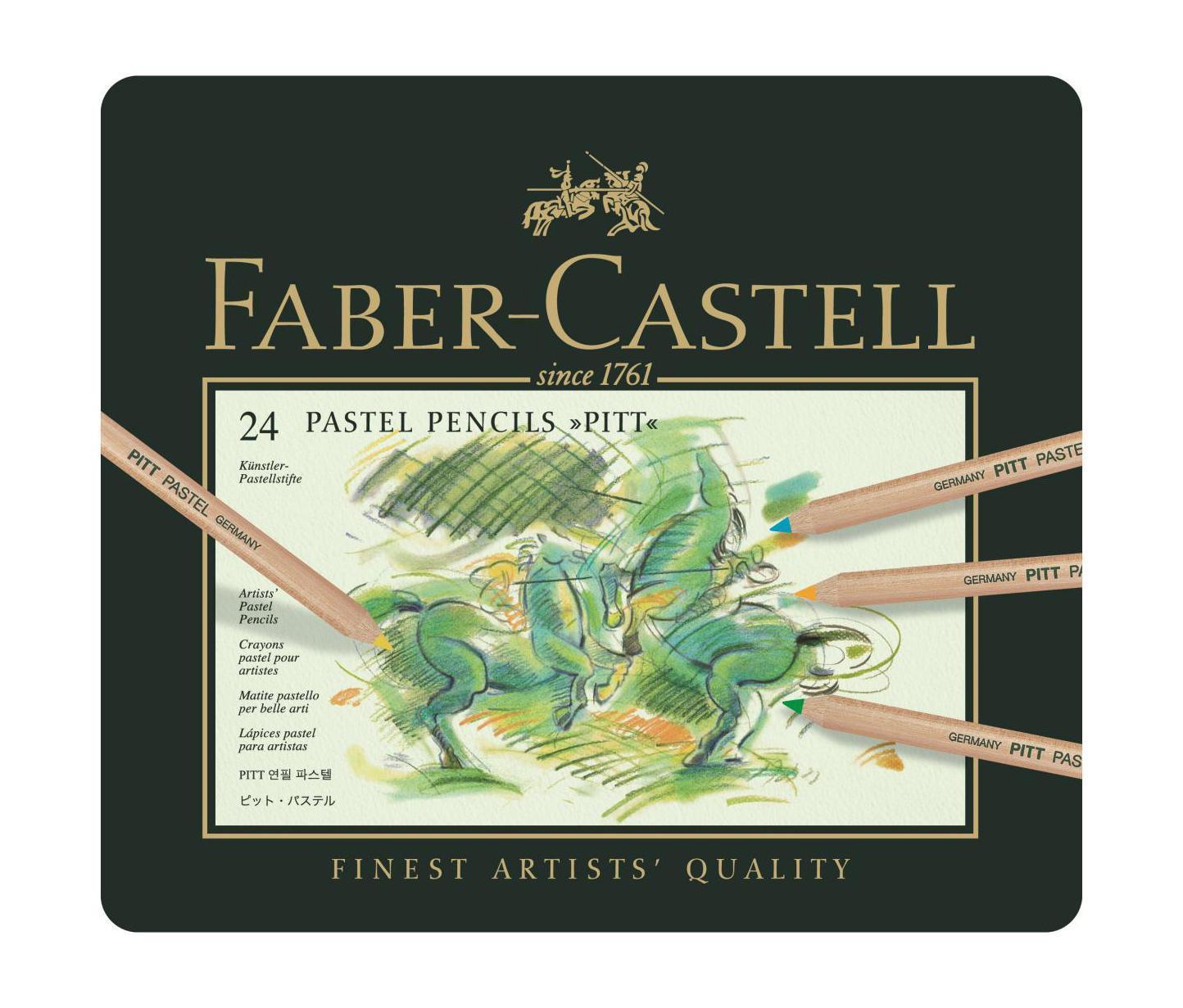 Пастельные карандаши PITT®, набор цветов, в металлической коробке, 24 шт.112124Faber Castell PITT 112124 - это пастельные карандаши высокого качества, устойчивые к выцветанию. Они не содержат воска, имеют исключительно толстые грифели 4.3 мм. Вид карандаша: цветной.Материал: дерево.
