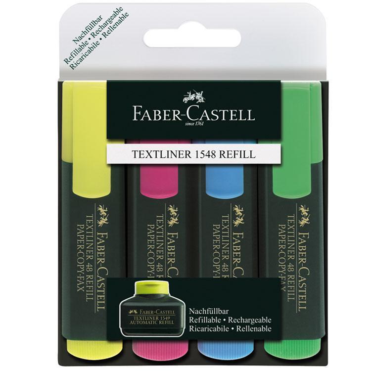 Faber-Castell Набор текстовыделителей Textliner 4 цвета154804Текстовыделители Faber-Castell обеспечивают отличное выделение текста на любых видах бумаги, а их клиновидные наконечники, в зависимости от угла, под которым держать маркер, могут наносить линии толщиной 1 мм, 2 мм и 5 мм. Универсальные яркие чернила на водной основе устойчивы к выцветанию. Маркеры гарантируют отличные результаты даже тогда, когда открыты длительное время. Флуоресцентная маркировка на бумаге любого стандарта. Возможность повторного наполнения чернилами на водной основе.
