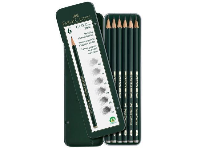 Чернографитовые карандашиCASTELL® 9000, твердость 2B, 4B, B, HB, 6В, 8В,в металлической коробке, 6 шт.119063Вид карандаша: Простой.Твердость грифеля: 2B, 4B, B, HB, 6В, 8В.Материал: дерево.