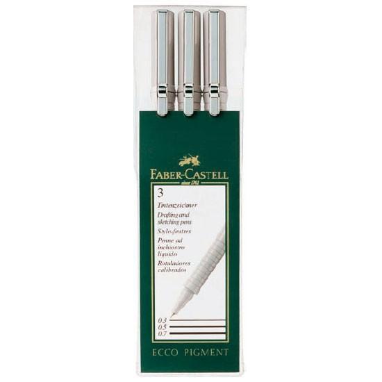 Капиллярные ручки ECCO PIGMENT, 0,3, 0,5, 0,7мм, в пластмассовом пенале, 3 шт.S0856410Цвет чернил: черный. Вид ручки: капиллярная.Материал: пластик и сталь.