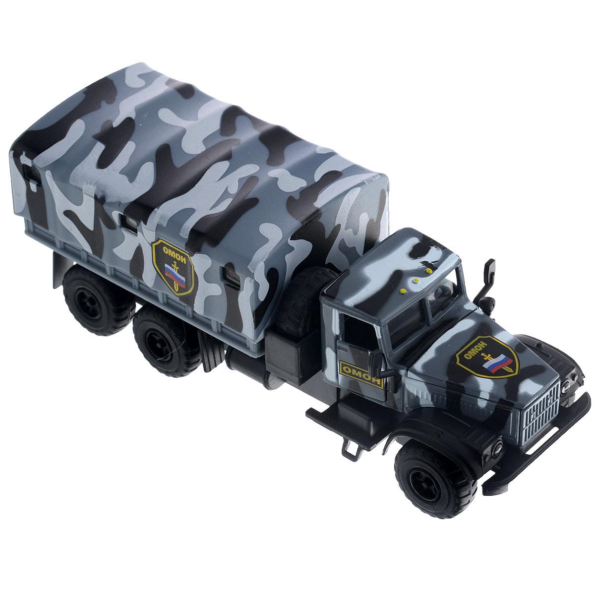 """Машинка ТехноПарк """"Краз 255: ОМОН"""", выполненная из безопасного пластика в виде машины ОМОНа, станет любимой игрушкой вашего малыша. У машины открываются двери кабины, капот и снимается тент. При нажатии кнопки, расположенной на корпусе кабины, начинают светиться фары под голос инспектора, сообщающего о необходимости снижения скорости. Игрушка оснащена инерционным ходом. Машинку необходимо отвести назад, затем отпустить - и она быстро поедет вперед. Прорезиненные колеса обеспечивают надежное сцепление с любой поверхностью пола. Ваш ребенок будет часами играть с этой машинкой, придумывая различные истории. Порадуйте его таким замечательным подарком! Игрушка работает от батареек (товар комплектуется демонстрационными)."""