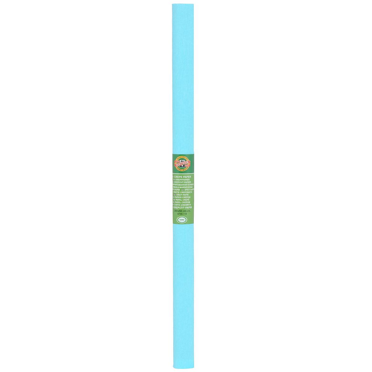 Бумага крепированная Koh-I-Noor, цвет: светло-бирюзовый, 50 см x 2 м55052Крепированная бумага Koh-I-Noor - прекрасный материал для декорирования, изготовления эффектной упаковки и различных поделок. Бумага прекрасно держит форму, не пачкает руки, отлично крепится и замечательно подходит для изготовления праздничной упаковки для цветов.
