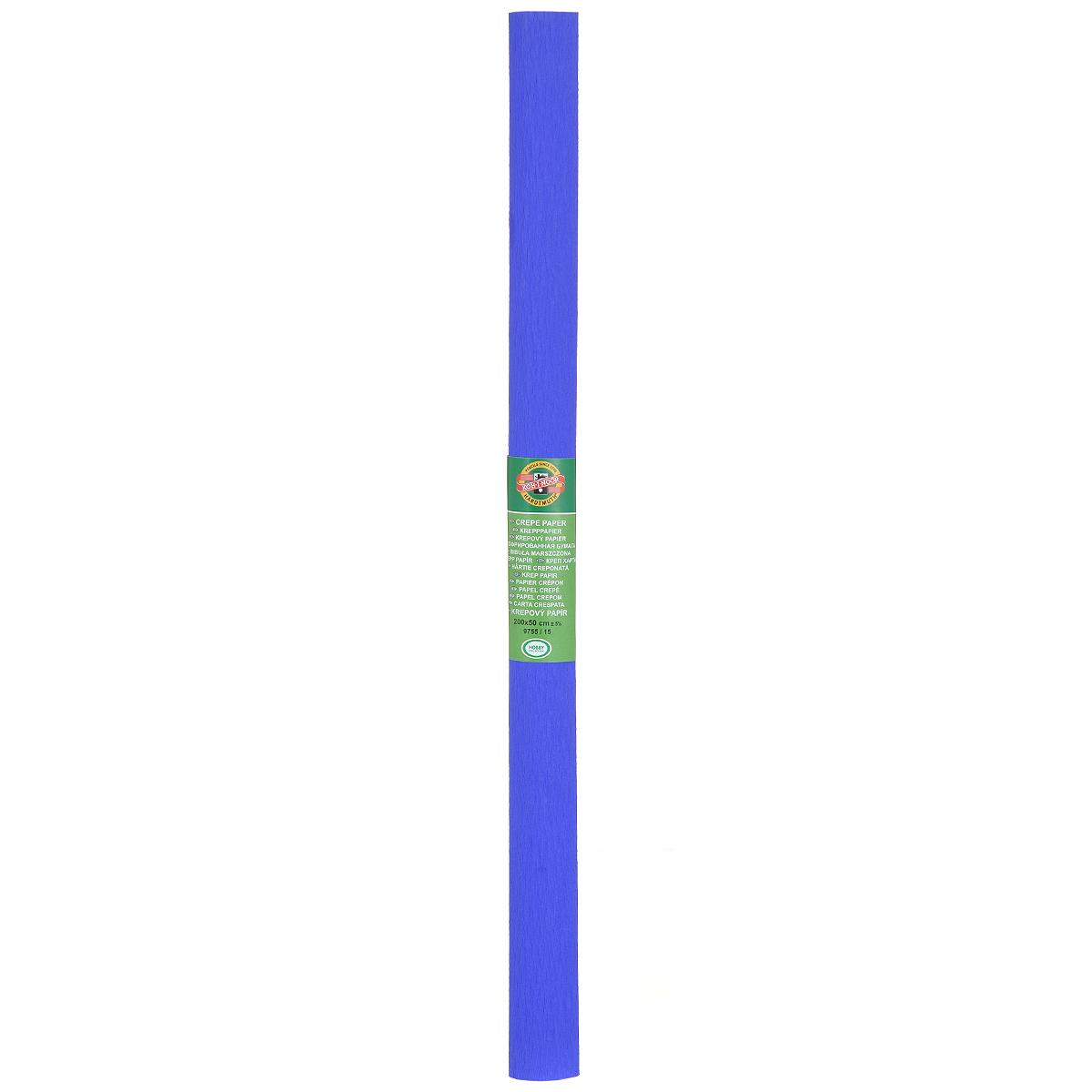 Бумага крепированная Koh-I-Noor, цвет: синий, 50 см x 2 м55052Крепированная бумага Koh-I-Noor - прекрасный материал для декорирования, изготовления эффектной упаковки и различных поделок. Бумага прекрасно держит форму, не пачкает руки, отлично крепится и замечательно подходит для изготовления праздничной упаковки для цветов.