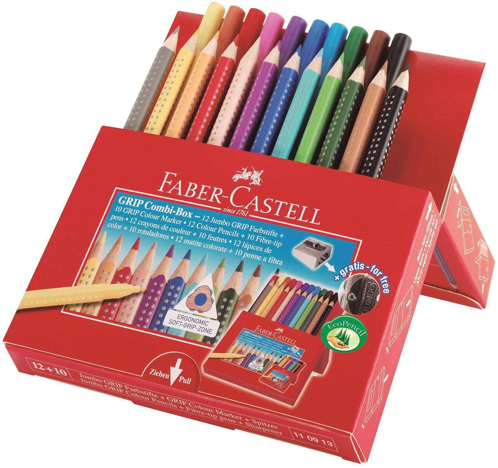 Цветные карандаши JUMBO GRIP + фломастеры и точилка в картонной коробке110913Вид карандаша: цветной.Особенности: С точилкой.Материал: дерево.