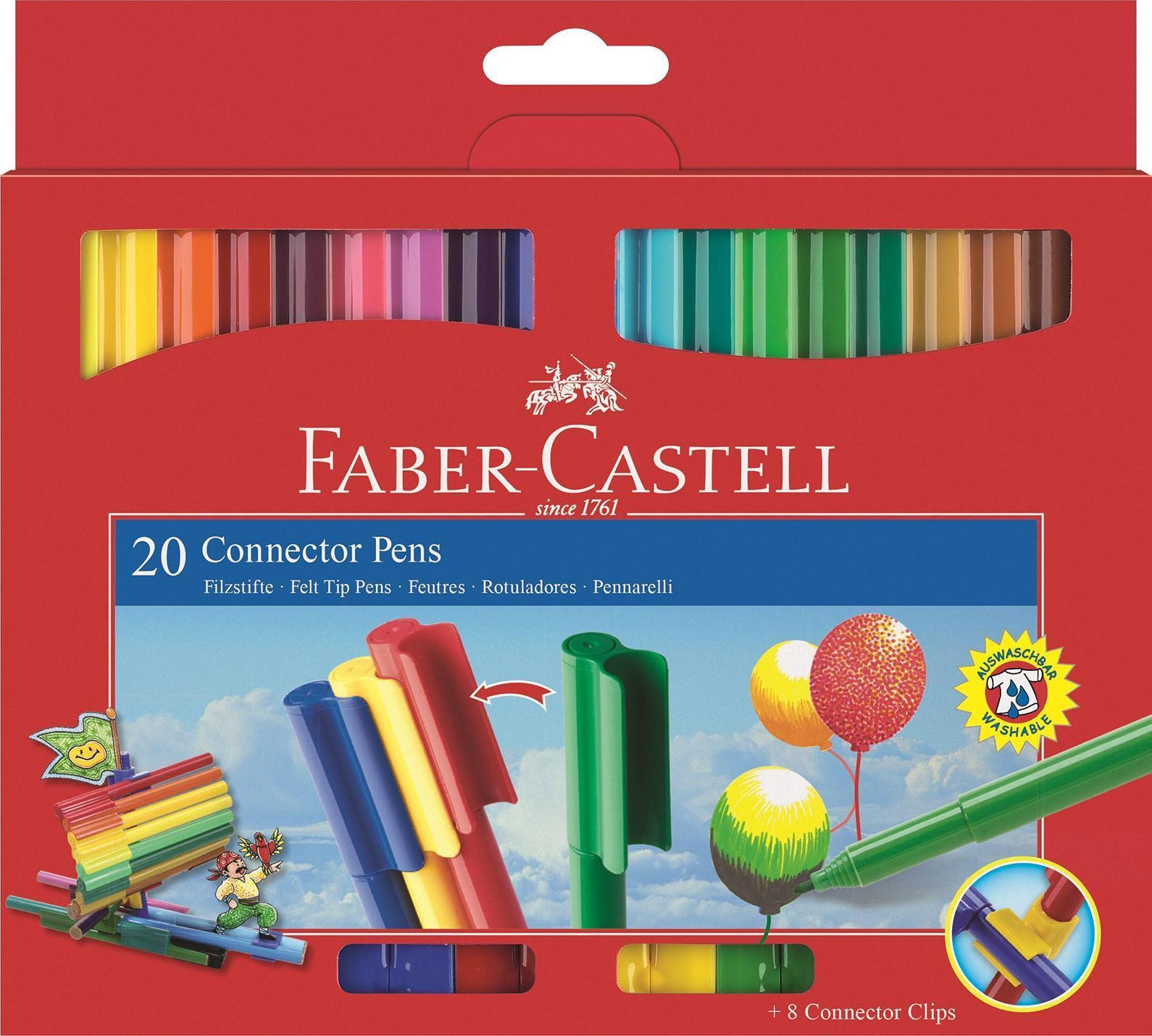 Фломастеры Faber-Castell помогут маленькому художнику раскрыть свой творческий потенциал и рисовать и раскрашивать яркие картинки, развивая воображение, мелкую моторику и цветовосприятие. В наборе 20 разноцветных фломастеров с колпачками, дополненными пластиковыми клипами, благодаря чему фломастеры легко соединяются между собой. Фломастеры удобно брать в собой в поездку, на прогулку. Соединенные между собой необычными клип-зажимами, они не потеряются. Фломастеры изготовлены из пластика, который обеспечивает прочность корпуса и препятствует испарению чернил, благодаря чему они имеют долгий срок службы.