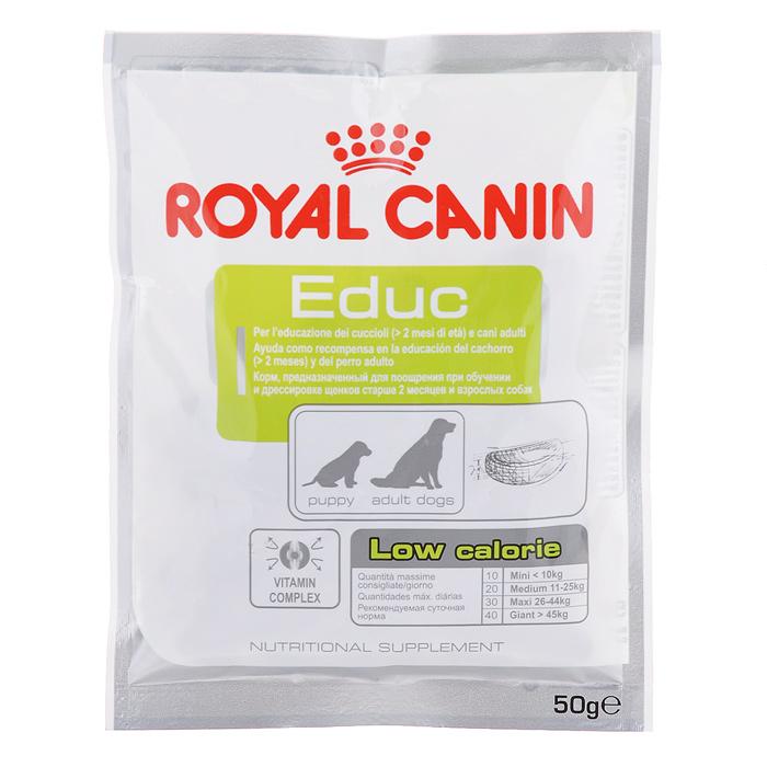 Лакомство для собак Royal Canin Educ, для дрессировки, 50 г0120710Лакомство для собак Royal Canin Educ - неполнорационный продукт, рекомендуемый для поощрения при обучении и дрессировке щенков старше 2 месяцев и взрослых собак. Продукт низкокалориен (каждая крокета содержит менее 3 ккал), но обладает высокой вкусовой привлекательностью. Лакомство с высоким содержанием витаминов Е и С, необходимых для поддержания функций клеток. Состав: маниока (тапиока), пшеничная клейковина (L.I.P. = высококачественные белки с максимальной степенью усвояемости ), пшеничная мука, растительная клетчатка, гидролизат белков животного происхождения, минеральные вещества.Анализ: белок 20%, жир 1%, клетчатка 1,9%, влажность 15%, минеральныевещества 2,3%, медь 3мг/кг. Товар сертифицирован.