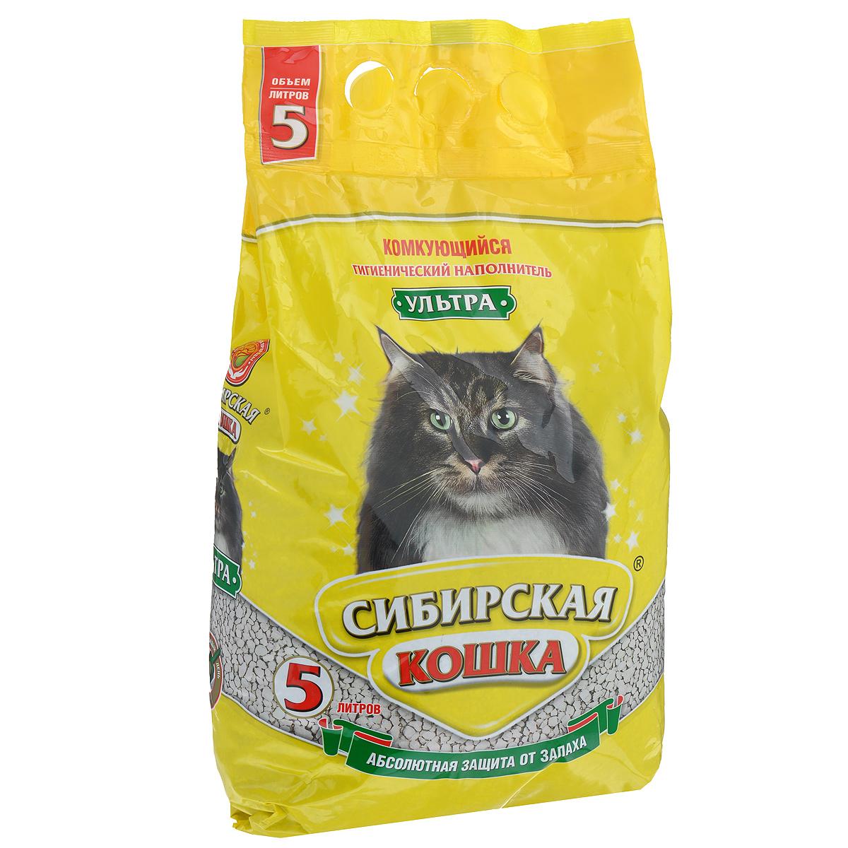 Наполнитель для кошачьих туалетов Сибирская Кошка Ультра, комкующийся, 5 л наполнитель для кошачьих туалетов кошкин секрет древесный 2 5 кг