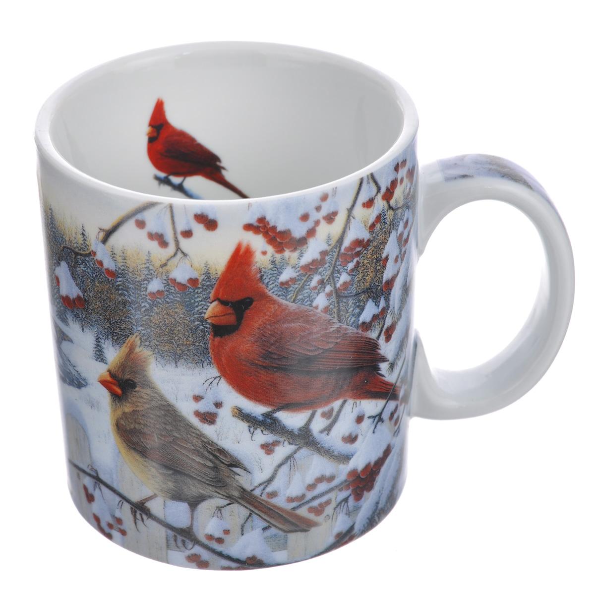 Кружка Reflective Art White Crimson Morning, 425 мл115510Кружка Reflective Art White Crimson Morning изготовлена из высококачественного фарфора. Изделие оформлено красочным изображением зимней природы по мотивам картины американского художника Кима Норлиена. Ручка также оформлена изображением, внутренняя поверхность кружки белого цвета декорирована изображением птицы. Такая кружка согреет горячим чаем в зимние вечера и станет прекрасным сувениром к Новому Году.Можно использовать в микроволновой печи и мыть в посудомоечной машине.