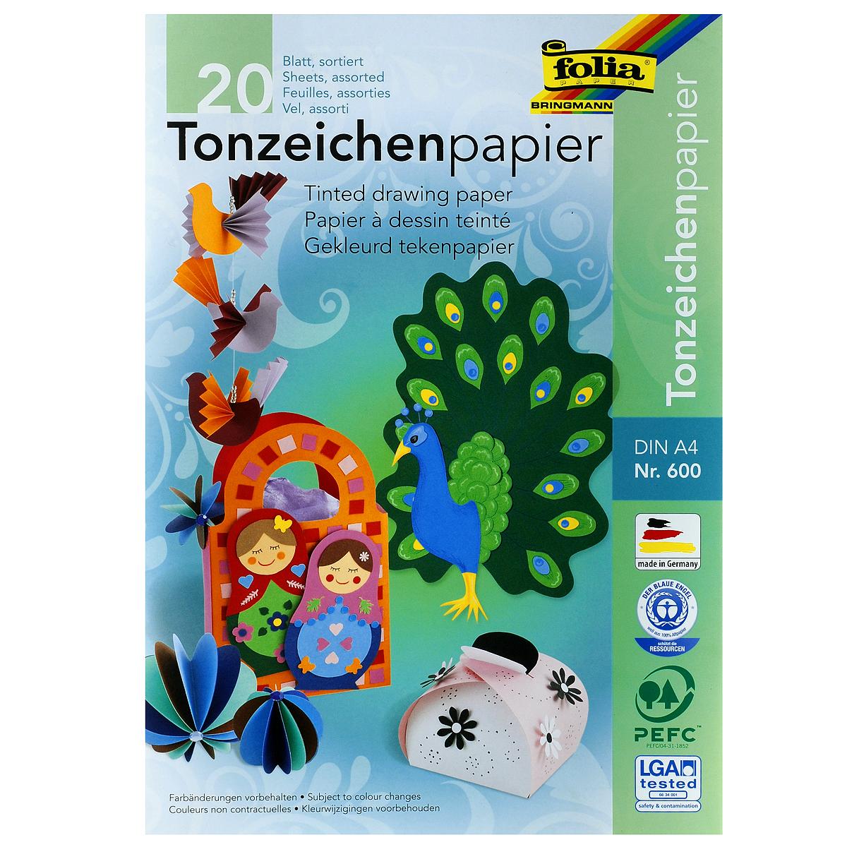 Набор двусторонней цветной бумаги Folia, 20 листов72523WDНабор цветной двусторонней бумаги Folia позволит создавать всевозможные аппликации и поделки. В набор входит бумага желтого, оранжевого, красного, розового, голубого, салатового, зеленого, синего, коричневого и черного цветов. Создание поделок из цветной бумаги позволяет ребенку развивать творческие способности, кроме того, это увлекательный досуг.