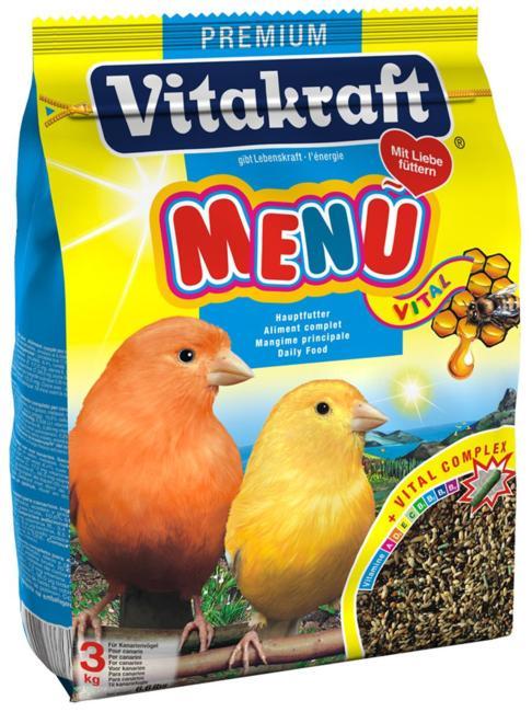 Корм для канареек Vitakraft Menu Vital, 500 г0120710Основной корм для канареек Vitakraft Menu Vital из семян канареечного и льняного семени, репы, желтого проса и меда. Обогащен дополнительными компонентами в виде шариков, чтобы поддерживать иммунную систему против микроорганизмов, улучшать здоровье в целом. Menu Vital содержит все необходимые витамины и минеральные вещества. Мед и рыбий жир улучшает рост перьев. Ингредиенты: семена канареечного вьюрка, рапсовые семена, льняные семена, желтое просо, овес, красное просо, семена редиски, сухари, овсяная крупа, киви, апельсин, D-глюкоза, фосфат кальция, соевое масло. Гарантированный анализ: мин. сырого белка - 15,8%, мин. сырого жира (масел) - 14,3%, макс. сырой клетчатки - 15,3%, макс. влажности - 10,7% макс. золы - 4,6%, мин. кальция - 0,1%. Витамин А - 1800 МЕ/1 фунт, витамин D3 - 340 МЕ/1 фунт, витамин С - 9 мг/1 фунт, витамин В2 - 0,45мг/1 фунт. Рекомендации к применению: 1 чайная ложка в день.Товар сертифицирован.Уважаемые клиенты! Обращаем ваше внимание на возможные изменения в дизайне упаковки. Качественные характеристики товара остаются неизменными. Поставка осуществляется в зависимости от наличия на складе.