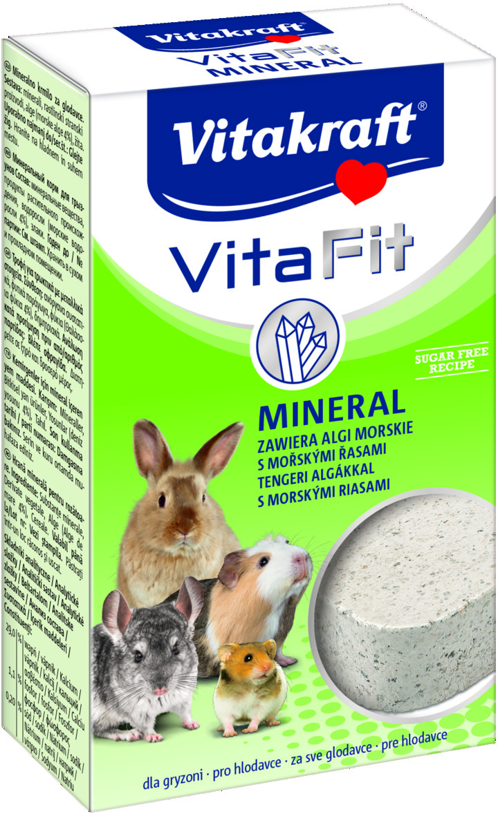 Камень для грызунов Vitakraft Mineral, 170 г0120710Камень для грызунов Vitakraft Mineral - кормовая добавка, которая обеспечивает грызунов необходимыми солями и минеральными веществами, восполняет недостаток натрия и укрепляет здоровье. Состав: минеральные вещества, растительные субпродукты, водоросли (4%), злаки, молоко и молочные продукты. Товар сертифицирован.