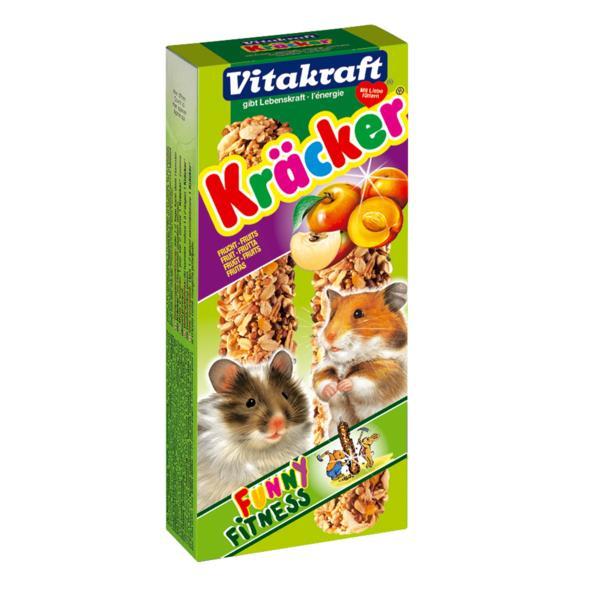 Крекеры для хомяков Vitakraft Kracker, фруктовые, 2 шт0120710Крекер для хомяков Vitakraft Kracker, обогащенный фруктами, содержит высококачественные злаки, фрукты, белок, хлебные добавки. Поддерживает здоровье, жизненный тонус. Состав: злаки, семена, орехи, фрукты (0,4%), мед, лецитин. Количество в упаковке: 2 шт. Товар сертифицирован.