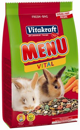 Корм для кроликов Vitakraft Menu Vital, 500 г18120Сбалансированный корм для кроликов Vitakraft Menu Vital для ежедневного применения. В состав входят: овощи, семена, злаки, витамины и минералы, а так же клетчатка, необходимая для правильной работы пищеварительной системы. Состав: компоненты растительного происхождения, злаки, овощи, фрукты,минералы, растительные масла и жиры, сахар, семена. Анализ:13% протеин, 3% масло, 13% клетчатка, 6% зола, 10% влажность, 54,5% углеводы, витамины А, Е, С, В1, В2.Товар сертифицирован.