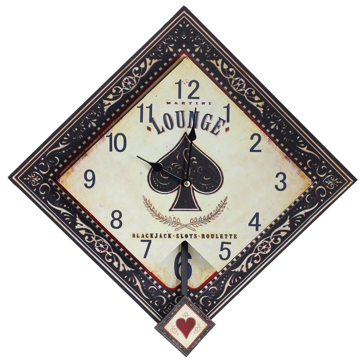 Часы настенные Black Jack, кварцевые, с маятником. 30378RG-D31SНастенные кварцевые часы Black Jack изготовлены из МДФ. Часы имеют форму ромба. Корпус оформлен узорами и изображением карточных мастей. Тип индикации - арабские цифры. Часы имеют две стрелки - часовую и минутную. Часы оснащены маятником. С задней стороны имеется отверстие для подвешивания на стену. Изящные часы красиво и оригинально оформят интерьер дома или офиса.Часы работают от одной батарейки типа АА (в комплект не входит).Размер часов (ДхШхВ) (без учета маятника): 42 см х 42 см х 4 см.Размер циферблата: 30 см х 30 см.Внимание! Уважаемые клиенты, обращаем ваше внимание на тот факт, что циферблат часов не защищен стеклом!