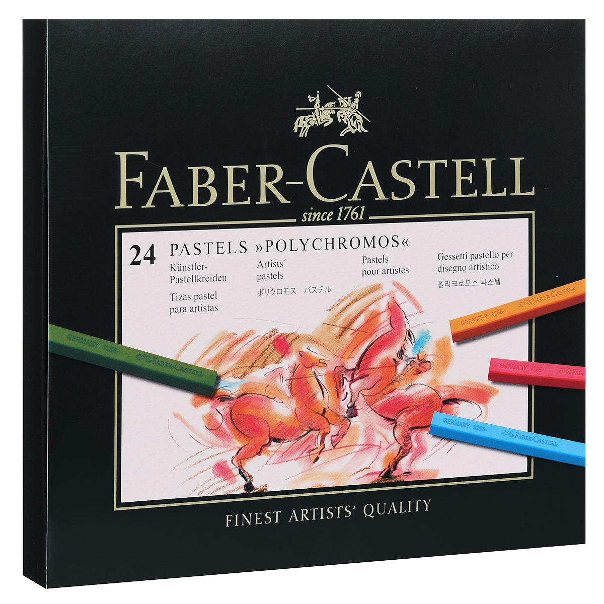 Пастель Faber-Castell Polychromos, 24 шт34930Набор Faber-Castell Polychromos содержит пастель прямоугольной формы в виде мелков 24 цветов - от ярких активных тонов до приглушенных оттенков. Пастель великолепного качества не крошится при работе, обладает отличными кроющими свойствами, обеспечивает хорошее сцепление с поверхностью, яркость и долговечность изображения. Пастелью Faber-Castell Polychromos можно рисовать в любой технике, сочетая ее с цветными карандашами и красками.