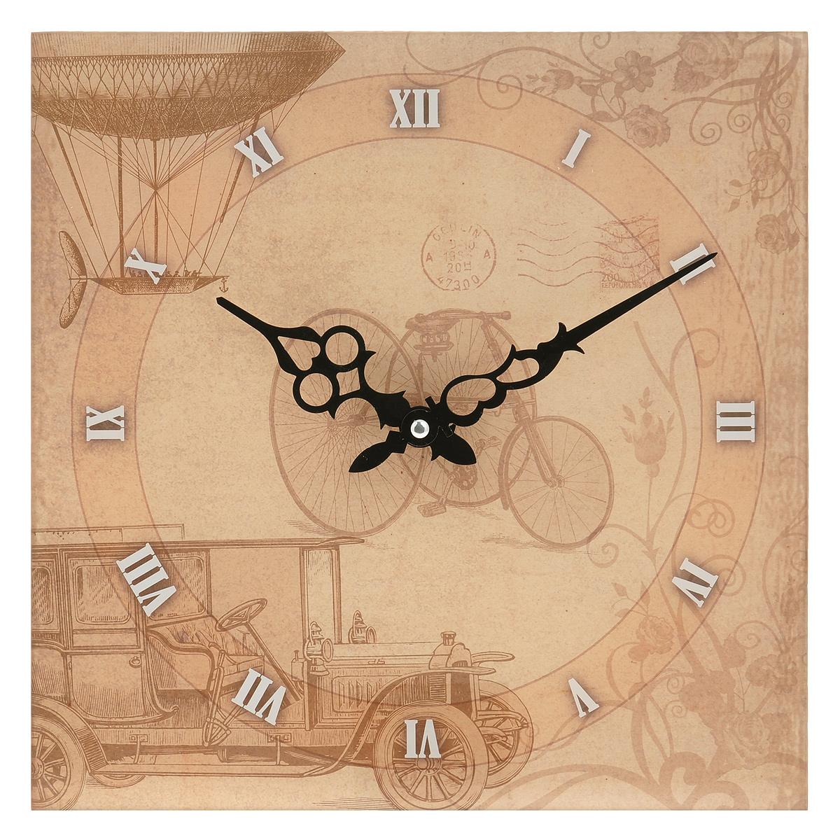 Часы настенные Велосипед, кварцевые. 27797904635Настенные кварцевые часы Велосипед своим эксклюзивным дизайном подчеркнут оригинальность интерьера вашего дома.Часы выполнены из стекла и оформлены изображением велосипеда и машины. Тип индикации - римские цифры. Часы имеют две фигурные стрелки - часовую и минутную. С задней стороны имеется петелька для подвешивания на стену.Для кухни, гостиной, прихожей или дачи -вы обязательно найдете ту модель, которая вам понравится. Часы работают от одной батарейки типа АА мощностью 1,5V (в комплект не входит).Диаметр циферблата: 26,5 см.Размер корпуса (ДхШ): 30 см х 30 см.Внимание! Уважаемые клиенты, обращаем ваше внимание на тот факт, что циферблат часов не защищен стеклом!