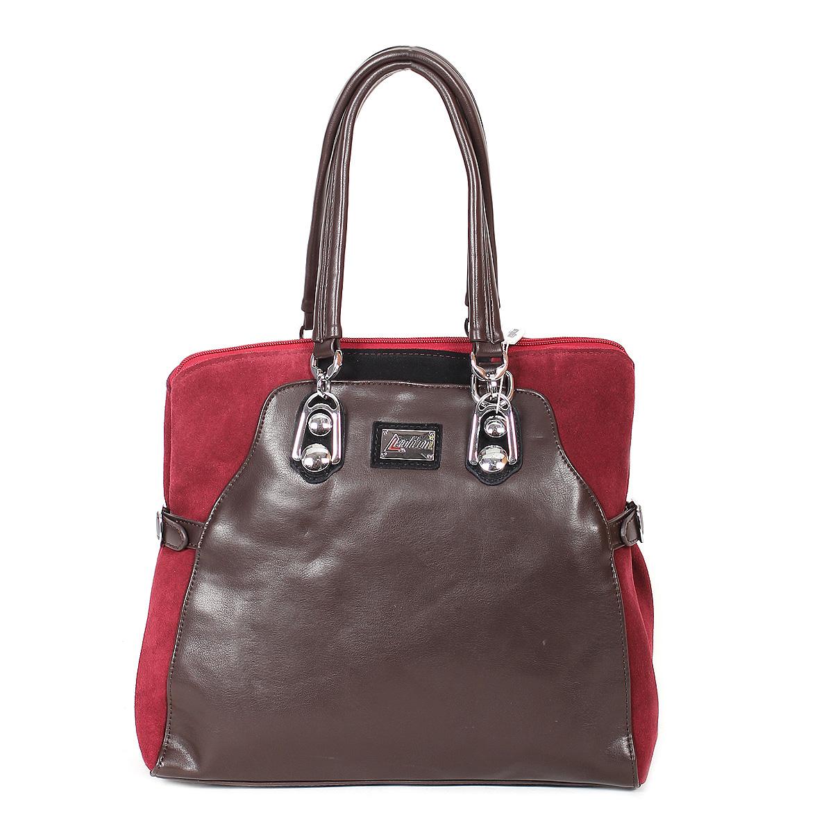 Сумка женская Leighton, цвет: коричневый, бордовый, черный. 11090-1166/201/503/808-2Стильная женская сумка Leighton изготовлена из высококачественной искусственной кожи и замши. Сумка состоит из одного вместительного отделения на застежке-молнии. Внутри располагается средник на застежке-молнии, а также два открытых кармана для мелочей и один прорезной карман на молнии. Тыльная сторона сумки оснащена прорезным карманом на застежке-молнии.Сумка имеет удобные ручки для переноски на декоративных металлических креплениях и плечевой ремень, регулирующийся по длине. Дно сумки защищено металлическими ножками, обеспечивающими необходимую устойчивость. Боковые части сумки оформлены ремешками и вставками из замши контрастного цвета. Сумка Leighton - это практичный и модный аксессуар, который станет функциональным дополнением к любому стилю. Блестящий дизайн сумки, сочетающий классические формы с оригинальным оформлением, позволит вам подчеркнуть свою индивидуальность и сделает ваш образ изысканным и завершенным.