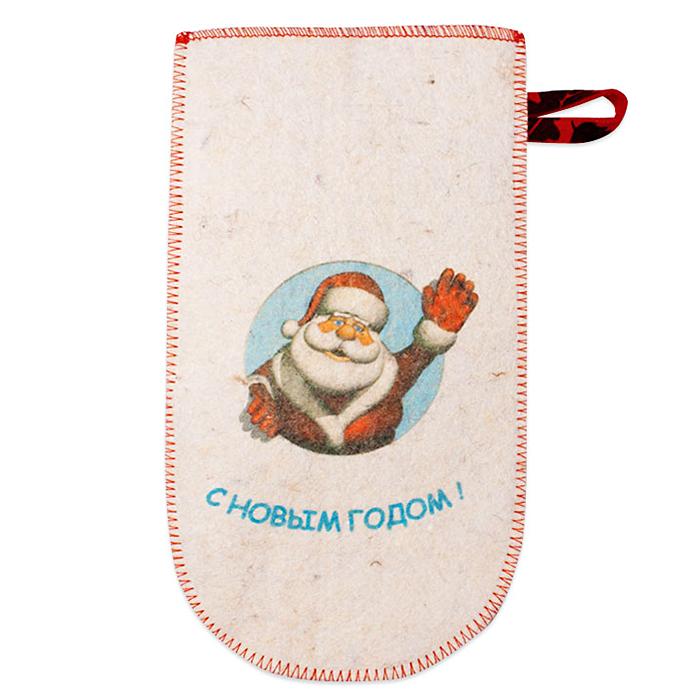 Рукавица банная Дед Мороз, войлокА262