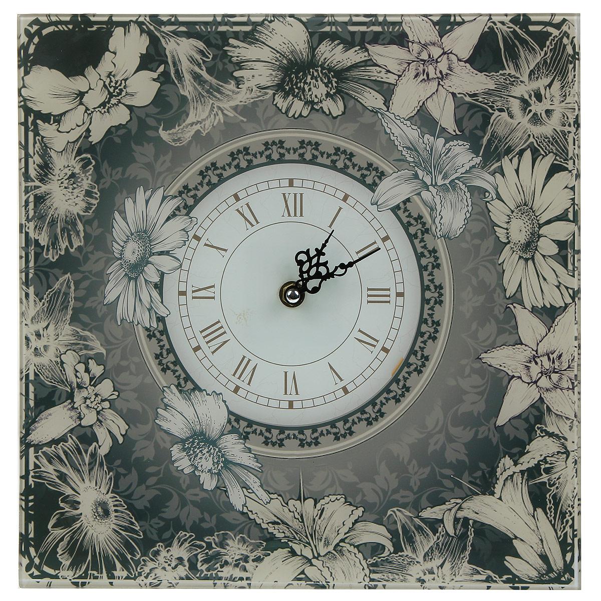 Часы настенные Цветочки. 2779827798Настенные часы квадратной формы Цветочки своим эксклюзивным дизайном подчеркнут оригинальность интерьера вашего дома.Часы выполнены из выполнены из высококачественного стекла и оформлены оригинальным рисунком.Часы имеют две фигурные стрелки - часовую и минутную. Циферблат часов не защищен стеклом. Настенные часы Цветочки подходят для кухни, гостиной, прихожей или дачи, а также могут стать отличным подарком для друзей и близких. Часы работают от одной батарейки типа АА (не входят в комплект).
