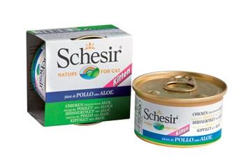 Консервы для котят Schesir, с цыпленком и алое, 85 г0120710Консервы Schesir - это полнорационный корм для котят. Состав: куриное филе (61% минимум), подсолнечное масло 1,4%, алоэ 4,7%, рис 1%, минеральные вещества, овощной желатин. Пищевая ценность: белок 11%, масла и жиры 1%, клетчатка 0,1%, минеральные вещества 1%, влажность 86%.Витамины: А - 1700МЕ, D3 - 120МЕ, Е (альфа-токоферол) 180 мг, таурин - 200 мг, пентагидрат сульфата меди 3 мг. Вес: 85 г.