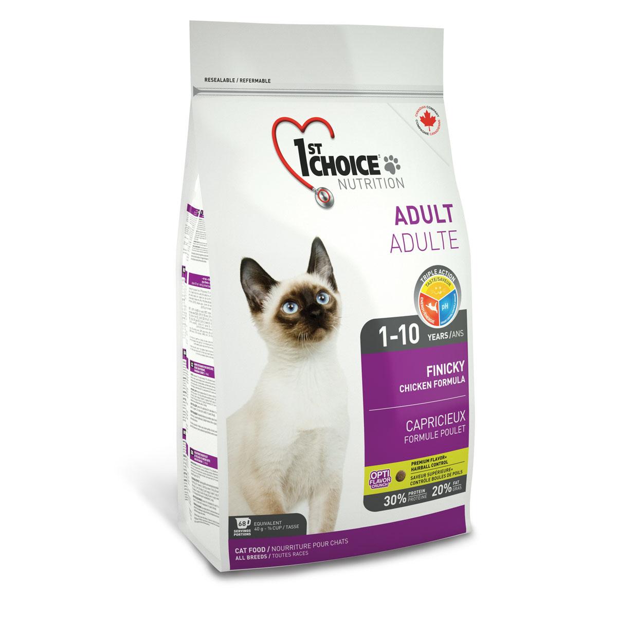 Корм сухой 1st Choice Adult для взрослых привередливых кошек, с курицей, 350 г56671Сухой корм 1st Choice Adult специально создан для привередливых взрослых кошек с нормальной активностью и избирательным вкусом. Свежая курица и сельдь понравится самым привередливым в еде кошкам. Идеальное сочетание белков, жиров и углеводов обеспечивает максимально доступной энергией. Правильный рН-баланс помогает поддерживать здоровье мочевыделительной системы. Ингредиенты: свежая курица 17%, мука из мяса курицы 17%, рис, куриный жир, сохраненный смесью натуральных токоферолов витамин Е, гороховый протеин, коричневый рис, мука из сельди, сушеное яйцо, мякоть свеклы, специально обработанные ядра ячменя и овса, гидролизат куриной печени, клетчатка гороха, цельное семя льна, сушеная мякоть томата, жир лосося, калия хлорид, лецитин, холина хлорид, соль, кальция пропионат, натрия бисульфат, кальция карбонат, таурин, DL-метионин, L-лизин, экстракт дрожжей, железа сульфат, аскорбиновая кислота (витамин С), экстракт цикория, цинка оксид, натрия селенит, альфа-токоферол ацетат (витамин Е), никотиновая кислота, экстракт юкки Шидигера, кальция иодат, марганца оксид, D-кальция пантотенат, тиамина мононитрат, рибофлавин, пиридоксина гидрохлорид, витамин А, холекальциферол (витамин Д3), биотин, сушеная мята 0,01%, сушеная петрушка 0,01%, экстракт зеленого чая 0,01%, цинка протеинат, витамин В12, кобальта карбонат, фолиевая кислота, марганца протеинат, меди протеинат. Гарантированный анализ: сырой протеин мин. 30%, сырой жир мин. 20%, сырая клетчатка макс. 3%, влага макс. 10%, зола макс. 9%, кальций мин. 1,2%, фосфор мин. 0,9%, марганец макс. 0,1%, таурин 2300 мг/кг, витамин А мин. 34 000 МЕ/кг, витамин Д3 мин. 2 000 МЕ/кг, витамин Е мин. 150 МЕ/кг. Энергетическая ценность корма: 435 ккал/мерный стакан/250 мл - 3770 ккал/кг.Товар сертифицирован.
