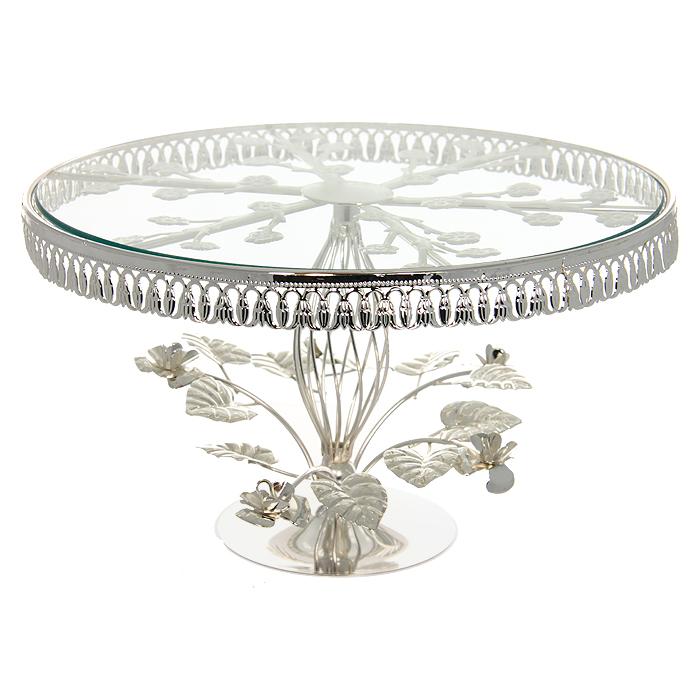 Подставка для торта Marquis, диаметр 31 см. 1015-MR115510Изысканная подставка для торта Marquis великолепно украсит ваш праздничный стол. Подставка выполнена из стали с серебряно-никелевым покрытием. На подставку устанавливается стеклянное блюдо для торта, которое после использования очень легко моется. По краю подставка украшена изящными перфорированными узорами, ножка изделия оформлена композицией в виде металлических листьев и цветов. Подставка для торта Marquis, выполненная под старину, идеально подойдет для сервировки стола и станет отличным подарком к любому празднику.Диаметр подставки: 31 см.Высота подставки: 18,5 см.