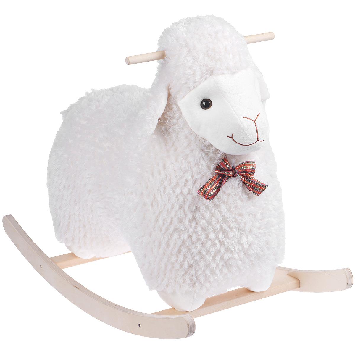 """Забавная качалка Fancy """"Овечка Долли"""" привлечет внимание малыша и не оставит его равнодушным. Она выполнена из приятного на ощупь текстильного материала в виде симпатичной овечки с пластиковыми глазками и вышитыми носиком и ротиком. На шее у овечки повязан яркий бантик. Полукруглое основание и ручки качалки выполнены из дерева. Такая игрушка может использоваться как дома, так и на открытом воздухе. Ваш малыш будет в восторге от такого подарка!"""