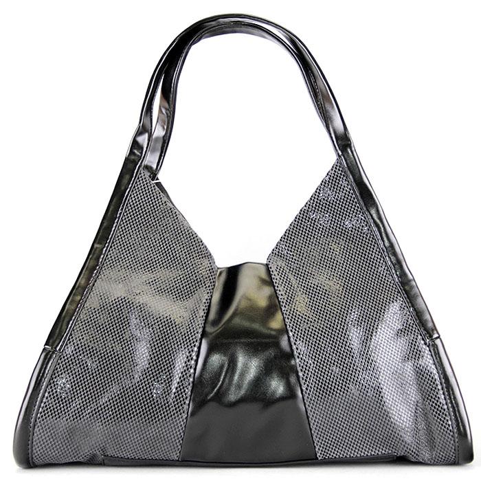 Сумка женская Leighton, цвет: черный, серый. 550222-12/29A/5760/5320ML597BUL/DОригинальная женская сумка Leighton изготовлена из искусственной кожи. Лицевая сторона оформлена вставками с узором, имитирующим змеиную кожу. Изделие закрывается на застежку-молнию. Внутри - два кармана, закрывающихся на застежки-молнии, два накладных кармана для мелочей и телефона. Изделие упаковано в фирменный чехол.Стильная фактура кожи и модный дизайн сумки не оставят равнодушной настоящую модницу.