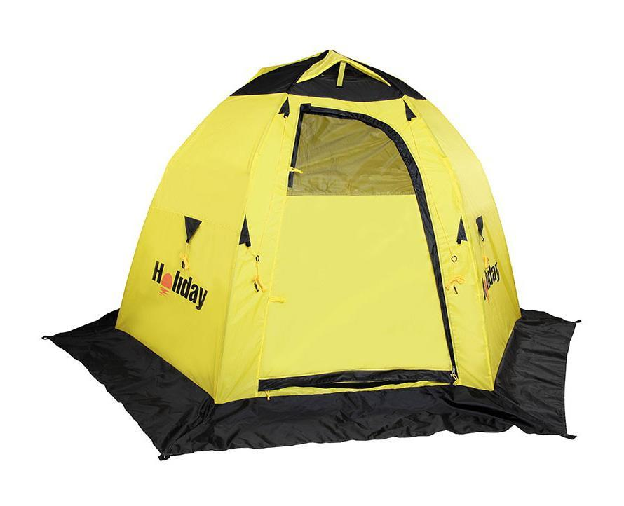 Палатка рыболовная зимняя Holiday EASY ICE 6 угл. 210x245 x155. H-10531H-10451Полуавтоматическая палатка, открывающаяся по типу зонтика. Каркас – трубчатое стекловолокно диаметром 8 мм. Жесткая конструкция легко разбирается и компактно укладывается в сумку для переноски.Палатка оборудована 2 раздельными входами, оборудованными двухсторонними замками-молниями. На каждом входе имеется окно с сеткой. С помощью шторок можно регулировать освещенность внутри палатки, полностью открыв или закрыв их. В верхней части расположены вентиляционные отверстия, которые при необходимости можно закрыть. Внутри палатки, на стенках, 4 кармана для рыболовных мелочей. Снизу, по периметру палатки – снегозащитная юбка – полог. Для надежного закрепления палатки на льду используется прилагаемый комплект растяжек и крючков..Материал: Полиэстер с PU покрытием.Размер в сложенном виде (см): 104х15х15.Вес (кг): 4,130 кг.