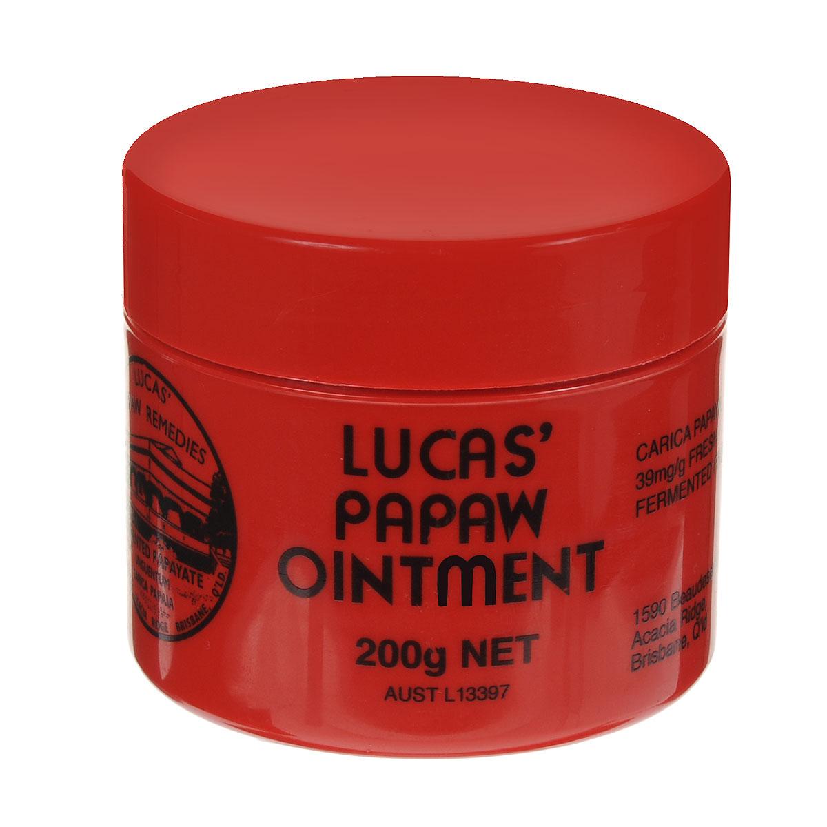 Lucas Papaw Бальзам для губ Ointment, 200 гFS-00897Вот уже больше 100 лет бальзам Lucas Papaw Ointment является одним из лучших средств для лечения и ухода за кожей.Это настоящий специалист по уходу за губами. Тающая, гладкая текстура бальзама хорошо впитывается в кожу и интенсивно ее питает, регенерирует, увлажняет и при этом не создает ощущение липкости на губах. Lucas Papaw Ointment включает в себя антисептические и антибактериальные свойства и может использоваться, так же:- для потрескавшихся губ, при трещинах и сухости губ,- при солнечных ожогах, - при покраснениях и детской опрелости,- при укусах насекомых,- при порезах и ссадинах … и прочих мелких кожных проблемах.Товар сертифицирован.