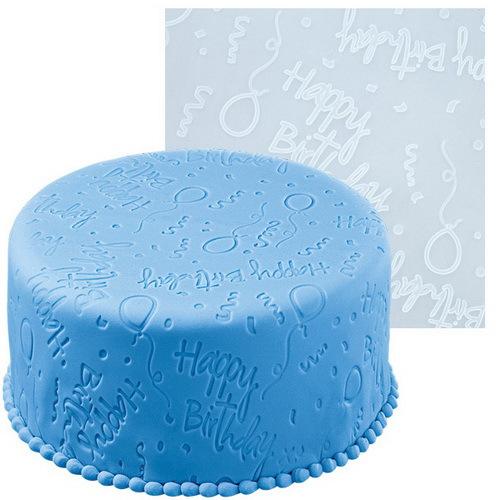 Мат для нанесения рисунка на мастику Wilton День рождения, цвет: голубой, 50,8 см х 50,8 см54 009312Мат Wilton День рождения, изготовленный из силикона, предназначен для нанесения рисунка на мастику при украшении тортов. Изделие имеет тиснение с надписями Happy Birthday , изображениями шариков и др.С этим матом вы сможете легко украсить кондитерское изделие.