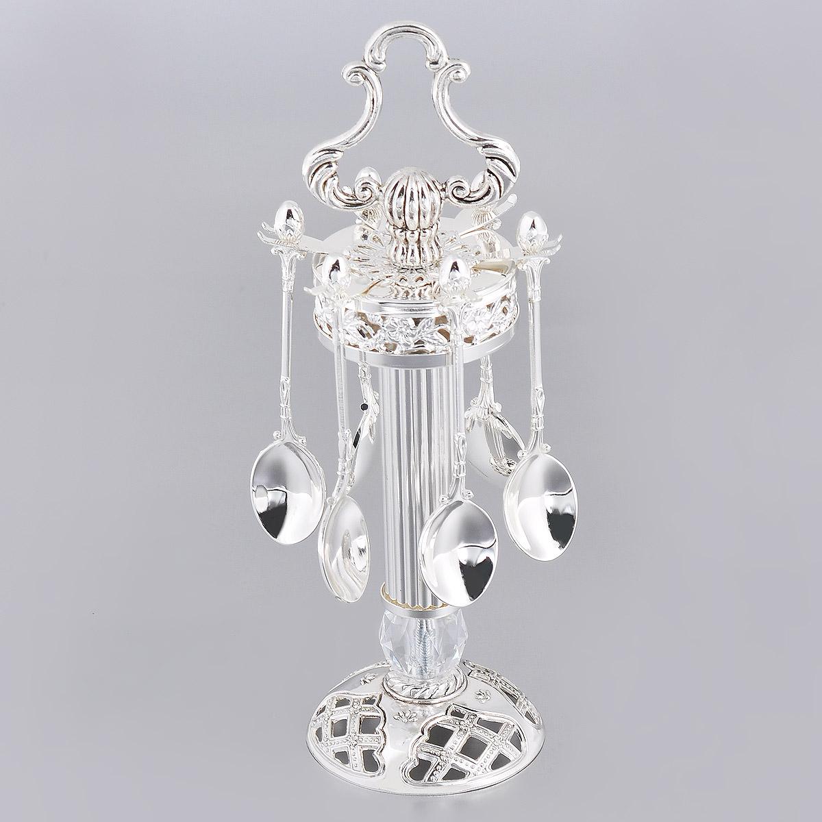 Набор чайных ложек Marquis, на подставке, длина 11 см, 7 предметов. 2107-MRFS-91909Набор Marquis состоит из шести чайных ложек и подставки, изготовленных из стали с никель-серебряным покрытием. Подставка выполнена в виде колонны, основание которой украшено крупным граненым кристаллом. Подставка так же оформлена цветочной перфорацией, оснащена шестью крючками для ложечек и ручкой. Эксклюзивный дизайн, эстетичность и функциональность набора позволят ему занять достойное место среди кухонного инвентаря, а сервировка праздничного стола таким набором станет великолепным украшением любого торжества.Длина ложки: 11 см.Размер подставки (ДхШхВ): 8,5 см х 8,5 см х 23 см.