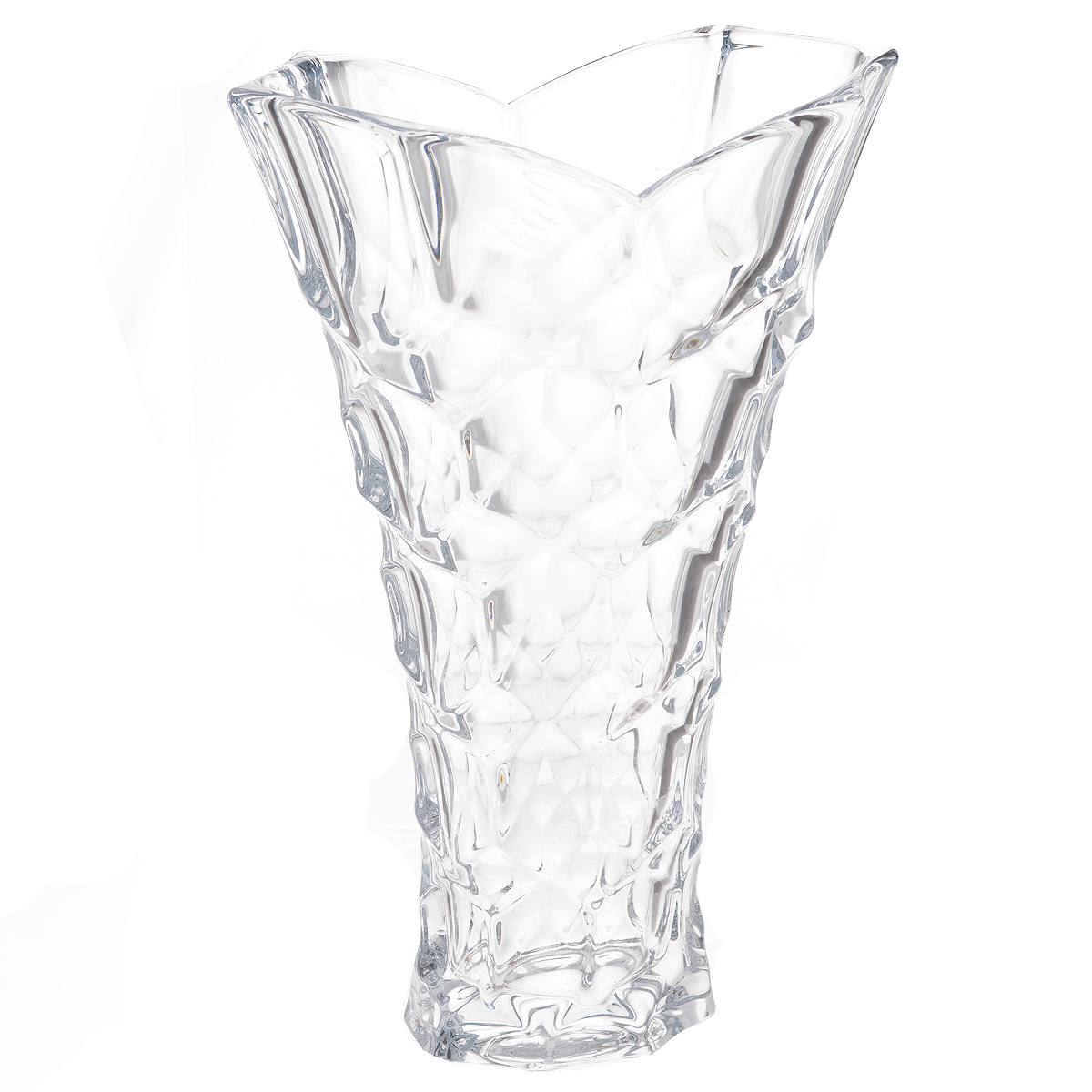 Ваза Crystalite Bohemia Медовые соты, высота 35,5 см106850Изящная ваза Crystalite Bohemia Медовые соты изготовлена из прочного утолщенного стекла кристалайт. Она красиво переливается и излучает приятный блеск. Ваза оснащена оригинальным рельефным орнаментом, напоминающим соты, и неровными краями, что делает ее изящным украшением интерьера. Ваза Crystalite Bohemia Медовые сотыл дополнит интерьер офиса или дома и станет желанным и стильным подарком.