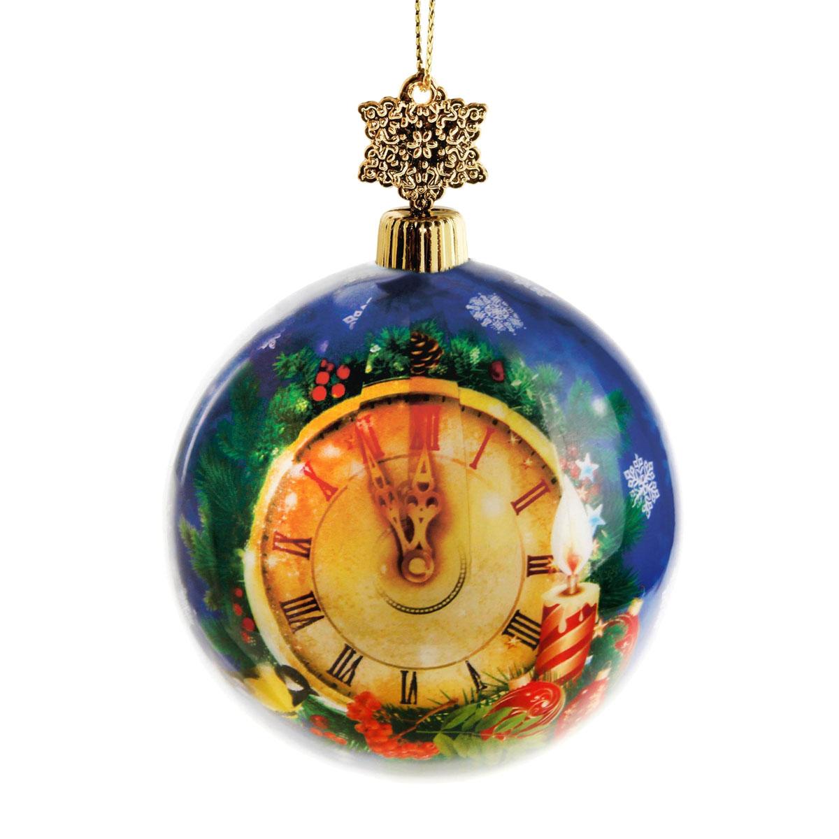 Новогоднее подвесное украшение Sima-land Шар, диаметр 8 см. 279333K100Новогоднее подвесное украшение Sima-land выполнено из высококачественного пенопласта в форме шара и покрыто цветной пленкой. Шар декорирован изображением курантов. С помощью специальной петельки украшение можно повесить в любом понравившемся вам месте. Но, конечно, удачнее всего такой набор будет смотреться на праздничной елке.Елочная игрушка - символ Нового года. Она несет в себе волшебство и красоту праздника. Создайте в своем доме атмосферу веселья и радости, украшая новогоднюю елку нарядными игрушками, которые будут из года в год накапливать теплоту воспоминаний. Материал: пенопласт, пленка, текстиль, пластик.