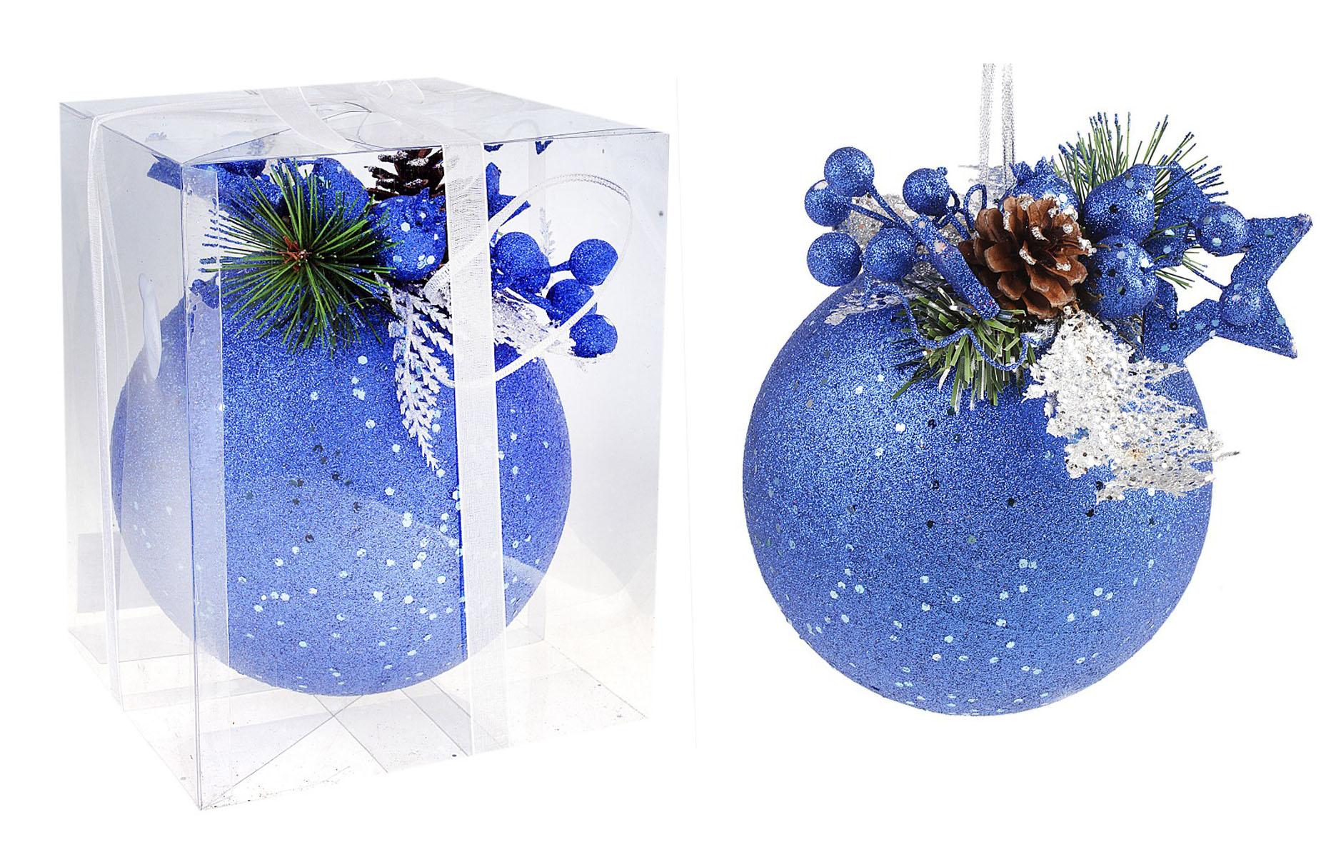 Новогоднее подвесное украшение Sima-land Шар, цвет: синий, диаметр 15 см. 542593701307Новогоднее подвесное украшение Sima-land Шар, выполненное из пластика, прекрасно подойдет для праздничного декора новогодней ели. Шар украшен веточками ели, звездой и шишкой. Изделие покрыто блестками. Для удобного размещения на елке для шара предусмотрена текстильная петелька. Елочная игрушка - символ Нового года. Она несет в себе волшебство и красоту праздника. Создайте в своем доме атмосферу веселья и радости, украшая новогоднюю елку нарядными игрушками, которые будут из года в год накапливать теплоту воспоминаний. Коллекция декоративных украшений принесет в ваш дом ни с чем несравнимое ощущение волшебства! Откройте для себя удивительный мир сказок и грез. Почувствуйте волшебные минуты ожидания праздника, создайте новогоднее настроение вашим дорогим и близким. Диаметр шара: 15 см. Материал: пластик, текстиль.