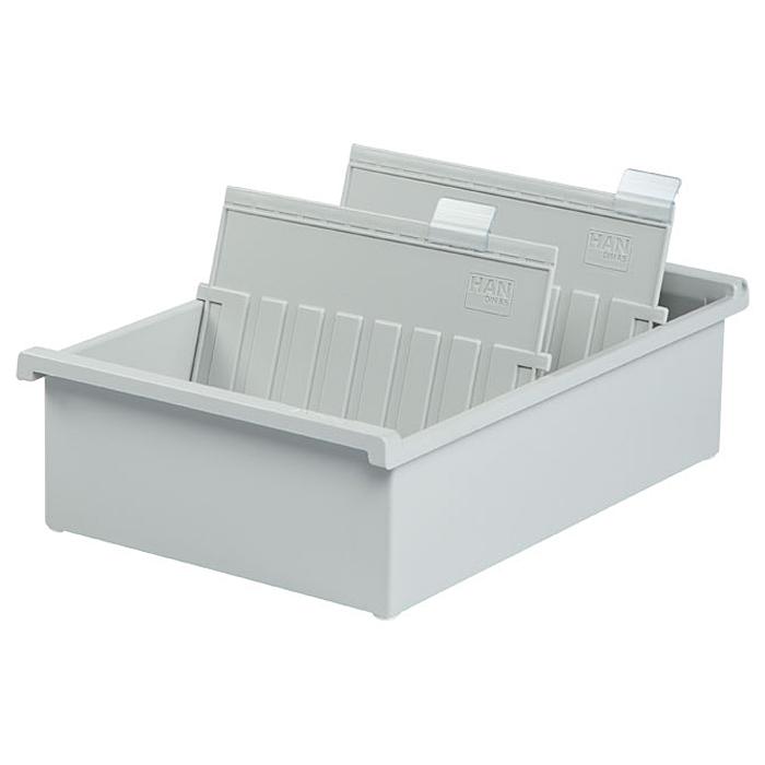 Лоток для бумаг горизонтальный HAN, цвет: светло-серый, формат А5. HA955-0/11HA1611/641Горизонтальный лоток для бумаг HAN поможет вам навести порядок на столе и сэкономить пространство. Лоток подойдет для карточек формата А5 и меньше.Лоток состоит из 3 вместительных секций, и, благодаря оригинальному дизайну и классической форме, органично впишется в любой интерьер. В комплект входят 2 прозрачных ярлыка и 2 пластиковых съемных разделителя, всего лоток оснащен вырубками для 26 разделителей. Таким образом, можно изменять размер секций, что позволяет настроить лоток так, как будет удобно именно вам.Лоток изготовлен из антистатического ударопрочного пластика. Лоток имеет ножки, предотвращающие скольжение по столу и обеспечивающие необходимую устойчивость.Благодаря лотку для бумаг, важные бумаги и документы не потеряются и всегда будут под рукой.