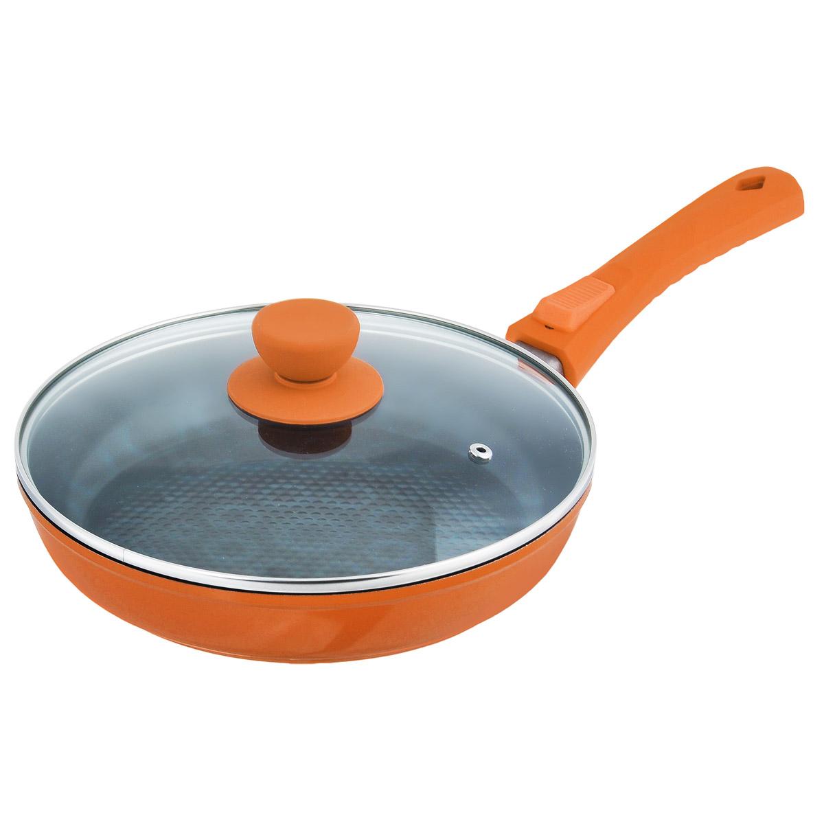 Сковорода Bohmann с крышкой, с керамическим 3D покрытием, со съемной ручкой, цвет: оранжевый. Диаметр 24 смFS-80299Сковорода Bohmann изготовлена из литого алюминия с антипригарным керамическим покрытием черного цвета с эффектом 3D. Внешнее покрытие - жаростойкий лак, который сохраняет цвет долгое время. Благодаря керамическому покрытию пища не пригорает и не прилипает к поверхности сковороды, что позволяет готовить с минимальным количеством масла. Кроме того, такое покрытие абсолютно безопасно для здоровья человека, так как не содержит вредной примеси PFOA. Рифленая внутренняя поверхность сковороды обеспечивает быстрое и легкое приготовление. Она также оформлена рисунком в виде голубых кружков с эффектом 3D.Достоинства керамического покрытия: - устойчивость к высоким температурам и резким перепадам температур, - устойчивость к царапающим кухонным принадлежностям и абразивным моющим средствам, - устойчивость к коррозии, - водоотталкивающий эффект, - покрытие способствует испарению воды во время готовки, - длительный срок службы, - безопасность для окружающей среды и человека. Сковорода быстро разогревается, распределяя тепло по всей поверхности, что позволяет готовить в энергосберегающем режиме, значительно сокращая время, проведенное у плиты. Сковорода оснащена съемной ручкой, выполненной из бакелита с термостойким силиконовым покрытием. Такая ручка не нагревается в процессе готовки и обеспечивает надежный хват. Крышка изготовлена из жаропрочного стекла, оснащена ручкой, отверстием для выпуска пара и металлическим ободом. Благодаря такой крышке можно следить за приготовлением пищи без потери тепла. Подходит для всех типов плит, кроме индукционных. Подходит для чистки в посудомоечной машине.