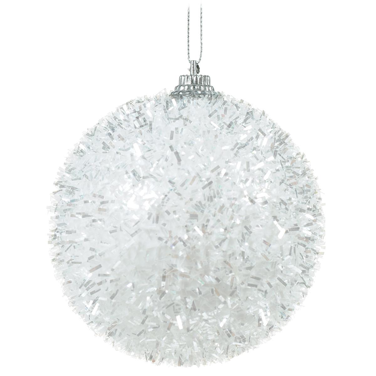 Новогоднее подвесное украшение Шар, цвет: белый. DB130191501-2353Новогоднее подвесное украшение Шар выполнено из высококачественного пенопласта и декорировано мишурой. С помощью специальной текстильной петельки украшение можно повесить в любом понравившемся вам месте. Но, конечно, удачнее всего такой шар будет смотреться на праздничной елке.Елочная игрушка - символ Нового года. Она несет в себе волшебство и красоту праздника. Создайте в своем доме атмосферу веселья и радости, украшая новогоднюю елку нарядными игрушками, которые будут из года в год накапливать теплоту воспоминаний.