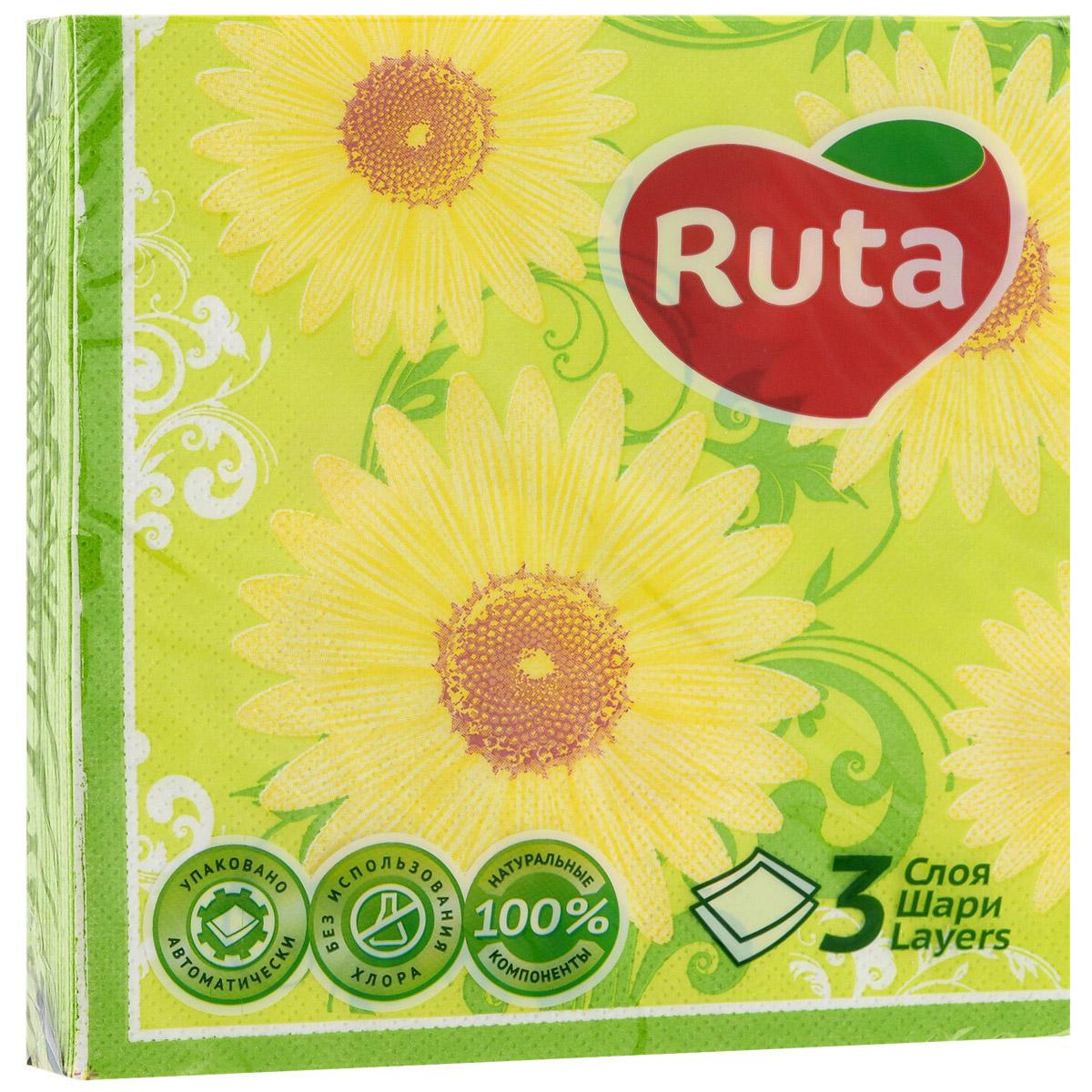 Салфетки Ruta Ромашка, трехслойные, 33 см х 33 см, 18 штMF-6W-12/230Трехслойные бумажные салфетки Ruta Ромашка с экзотическим ароматом, изготовленные из экологически чистого, высококачественного сырья - 100% целлюлозы, станут отличным дополнением праздничного стола. Они отличаются необыкновенной мягкостью и прочностью. Яркий дизайн салфеток с цветочным принтом придется вам по душе и подарит положительные эмоции.Количество слоев: 3.Размер салфетки: 33 см х 33 см. Товар сертифицирован.