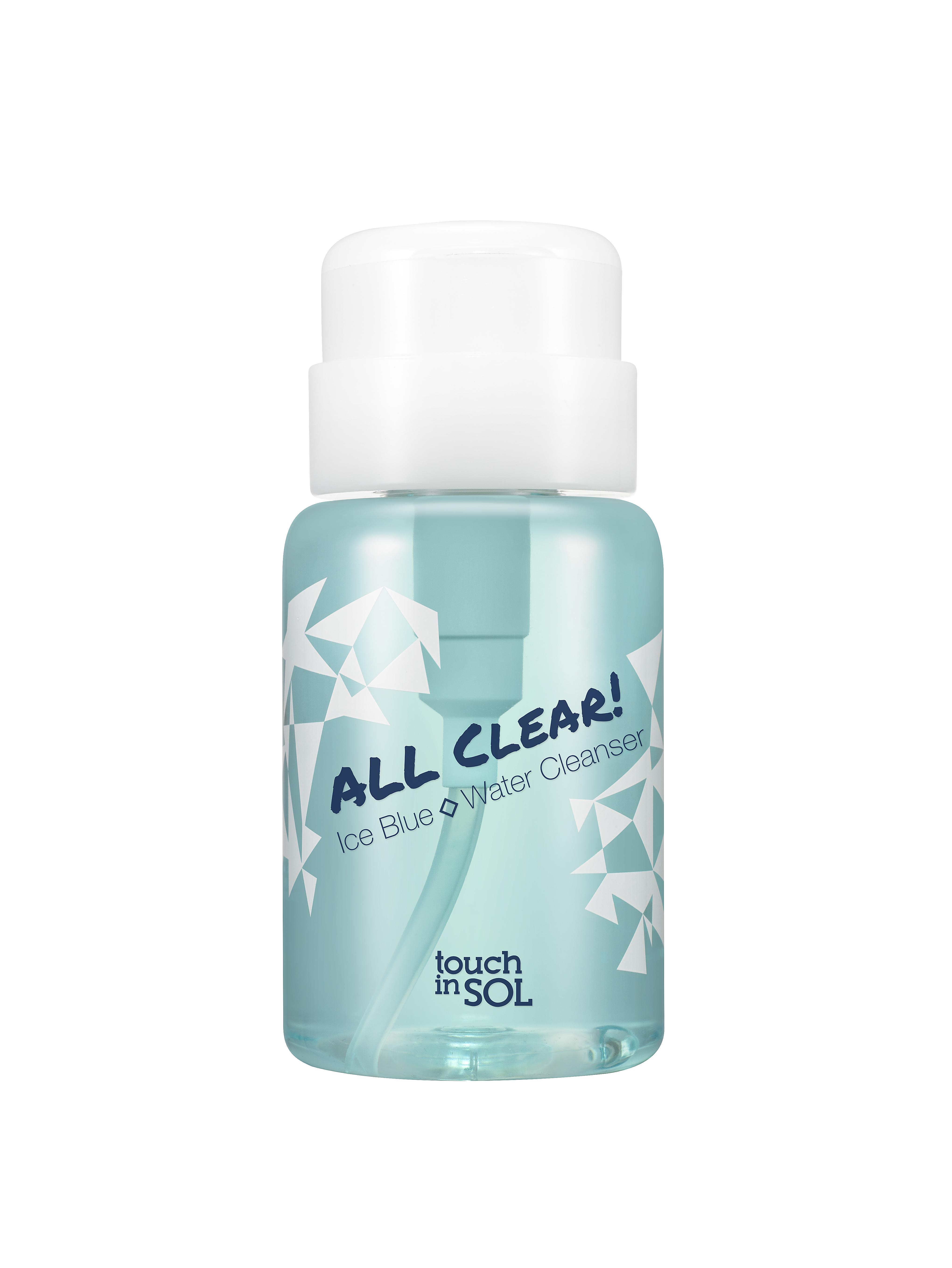 Touch in SOL Средство для снятия макияжа All Clear! Ice Blue Water, 150 мл0582Средство для снятия макияжа Touch in SOL All Clear! Ice Blue Water - это мягкое очищающее средство для снятия повседневного макияжа очень удобно в использовании. Средство на основе ледниковой воды Аляски, натуральных ингредиентов (экстрактов лаванды, ромашки, бурачника, гиацинта) отлично подходит для чувствительной кожи.Товар сертифицирован.