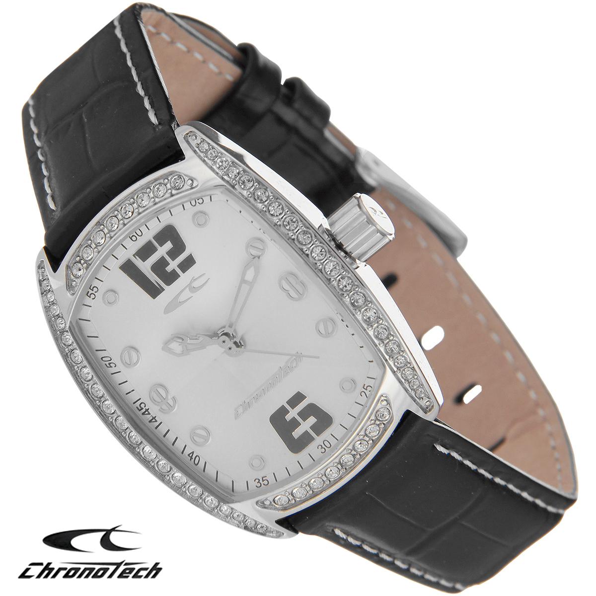 Часы женские наручные Chronotech, цвет: серебристый, черный. RW0001BM8434-58AEЧасы Chronotech - это часы для современных и стильных людей, которые стремятся выделиться из толпы и подчеркнуть свою индивидуальность. Корпус часов выполнен из нержавеющей стали и по контуру циферблата оформлен стразами. Циферблат оформлен отметками и защищен минеральным стеклом. Часы имеют три стрелки - часовую, минутную и секундную. Стрелки светятся в темноте. Ремешок часов выполнен из натуральной кожи и застегивается на классическую застежку. Часы упакованы в фирменную коробку с логотипом компании Chronotech. Такой аксессуар добавит вашему образу стиля и подчеркнет безупречный вкус своего владельца.Характеристики: Размер циферблата: 2,5 см х 3 см.Размер корпуса: 3 см х 3,8 см х 0,9 см.Длина ремешка (с корпусом): 23 см.Ширина ремешка: 1,6 см.