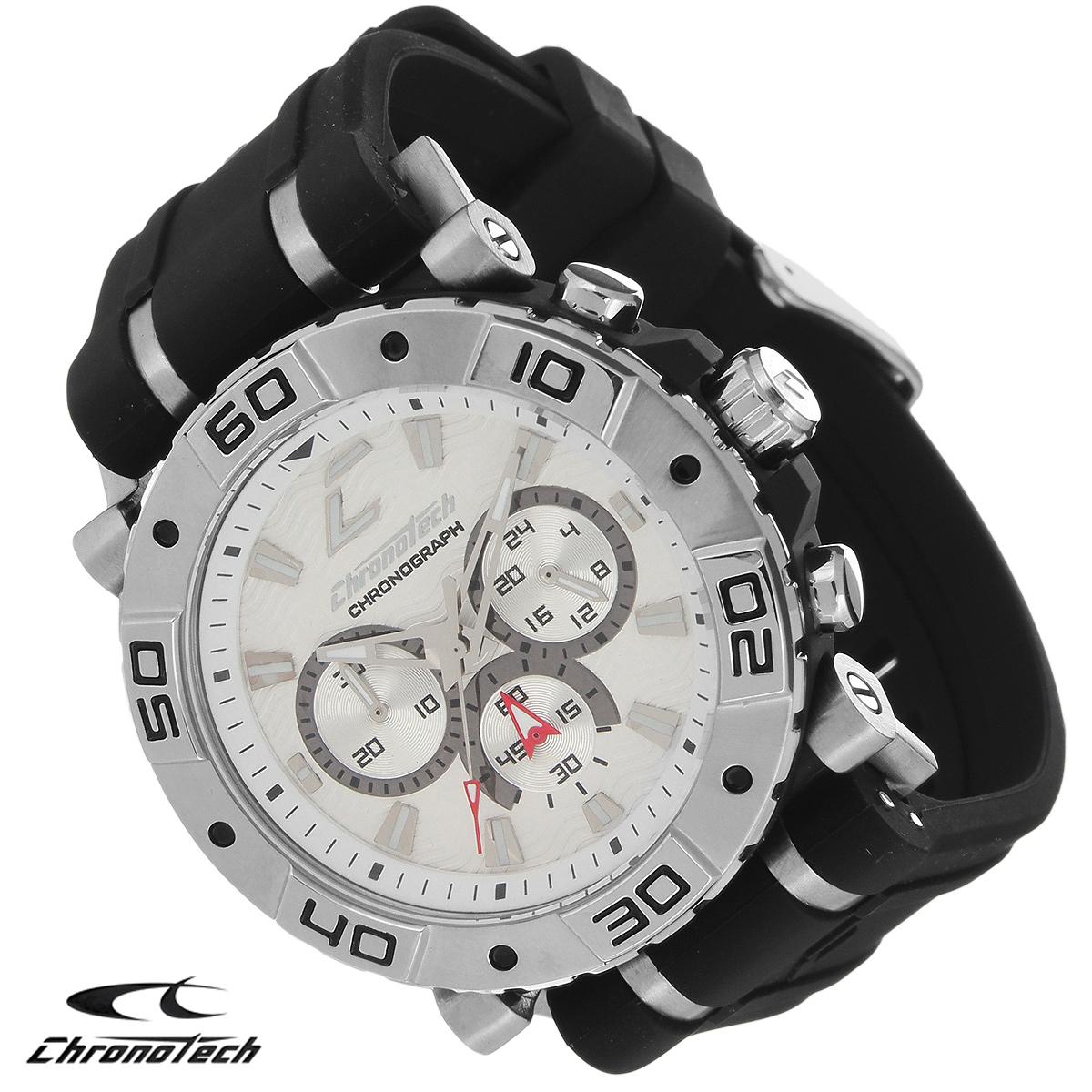 Часы мужские наручные Chronotech, цвет: черный. RW0034BM8434-58AEЧасы Chronotech - это часы для современных и стильных людей, которые стремятся выделиться из толпы и подчеркнуть свою индивидуальность. Корпус часов выполнен из нержавеющей стали. Циферблат оформлен отметками и защищен минеральным стеклом. Часы имеют три стрелки - часовую, минутную и секундную. Стрелки и отметки светятся в темноте. Ремешок часов выполнен из каучука и застегивается на классическую застежку. Часы выполнены в спортивном стиле.Часы упакованы в фирменную коробку с логотипом компании Chronotech. Такой аксессуар добавит вашему образу стиля и подчеркнет безупречный вкус своего владельца.Характеристики: Диаметр циферблата: 3,3 см.Размер корпуса: 4,5 см х 4 см х 1 см.Длина ремешка (с корпусом): 24,5 см.Ширина ремешка: 2,4 см.