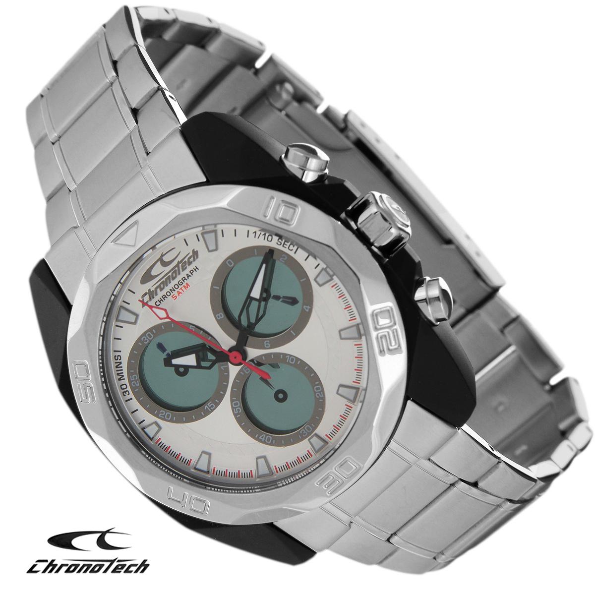 Часы мужские наручные Chronotech, цвет: серебристый. RW0064BM8434-58AEЧасы Chronotech - это часы для современных и стильных людей, которые стремятся выделиться из толпы и подчеркнуть свою индивидуальность. Корпус часов выполнен из нержавеющей стали с покрытием поликарбонатом. Циферблат оформлен отметками и защищен минеральным стеклом. Часы имеют три стрелки - часовую, минутную и секундную. Стрелки и отметки светятся в темноте. Часы оснащены функцией хронографа и имеют секундомер. Браслет часов выполнен из нержавеющей стали и застегивается на раскладывающуюся застежку. Часы упакованы в фирменную коробку с логотипом компании Chronotech. Такой аксессуар добавит вашему образу стиля и подчеркнет безупречный вкус своего владельца.Характеристики: Диаметр циферблата: 3,3 см.Размер корпуса: 4,3 см х 4,8 см х 1,2 см.Длина браслета (с корпусом): 29 см.Ширина браслета: 2 см.