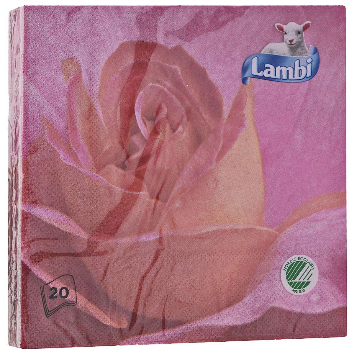 Салфетки Lambi Роза, трехслойные, 33 х 33 см, 20 шт531-301Трехслойные бумажные салфетки Lambi Роза, изготовленные из экологически чистого, высококачественного сырья - 100% целлюлозы, станут отличным дополнением праздничного стола. Они отличаются необыкновенной мягкостью и прочностью. Яркий дизайн салфеток с цветочным принтом придется вам по душе и подарит положительные эмоции.Количество слоев: 3.Размер салфетки: 33 см х 33 см.Товар сертифицирован.