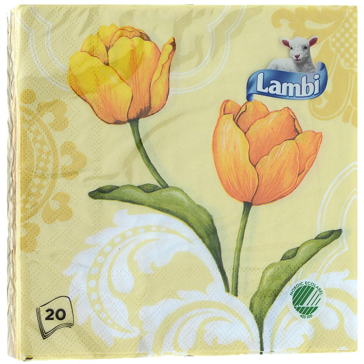 Салфетки Lambi Желтые тюльпаны, трехслойные, 33 см х 33 см, 20 шт56198Трехслойные бумажные салфетки Lambi Желтые тюльпаны, изготовленные из экологически чистого, высококачественного сырья - 100% целлюлозы, станут отличным дополнением праздничного стола. Они отличаются необыкновенной мягкостью и прочностью. Яркий дизайн салфеток с цветочным принтом придется вам по душе и подарит положительные эмоции. Товар сертифицирован.