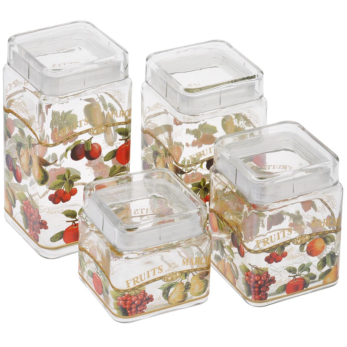 Набор банок для сыпучих продуктов Sinoglass Фрукты, 4 штFD 992Набор Sinoglass Фрукты состоит из четырех банок разного объема, предназначенных для хранения сыпучих продуктов. Изделия выполнены из высококачественного стекла и украшены изображением фруктов. Герметичные крышки с силиконовыми прослойками дольше сохраняют продукты свежими и сухими. Банки идеальны для хранения круп, макарон, чая, кофе, сахара, орехов и других сыпучих продуктов. Благодаря прозрачным стенкам, можно видеть содержимое банок. Такой набор стильно дополнит интерьер кухни и станет незаменимым помощником в приготовлении ваших любимых блюд.Высота банок: 11 см; 15 см; 19 см; 23 см.Размер основания банок: 11 см х 11 см.Объем банок: 2.1 л, 1.68 л, 1.24 л, 0.8 л.